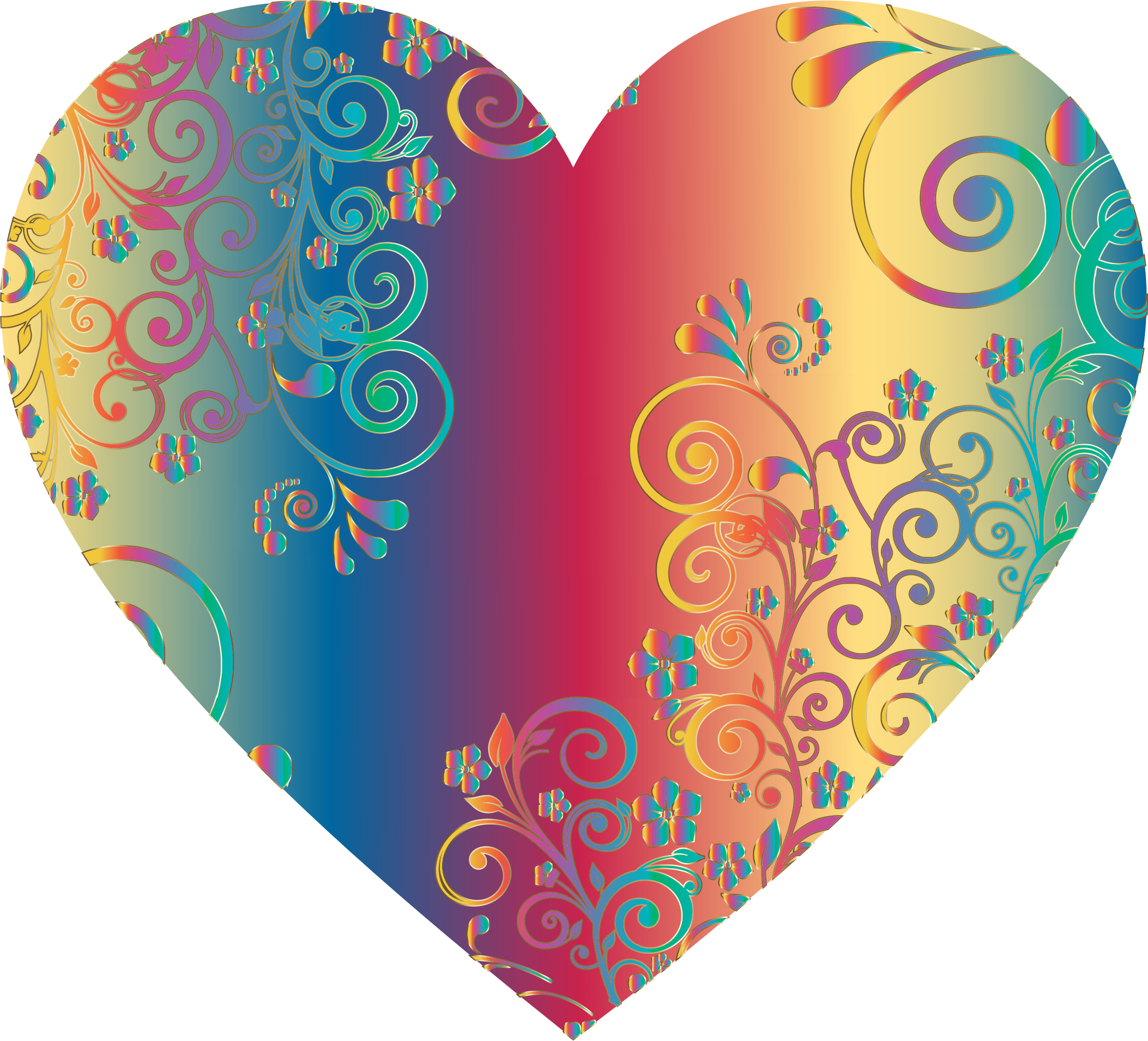 Prismatic Floral Flourish Heart 10 by GDJ