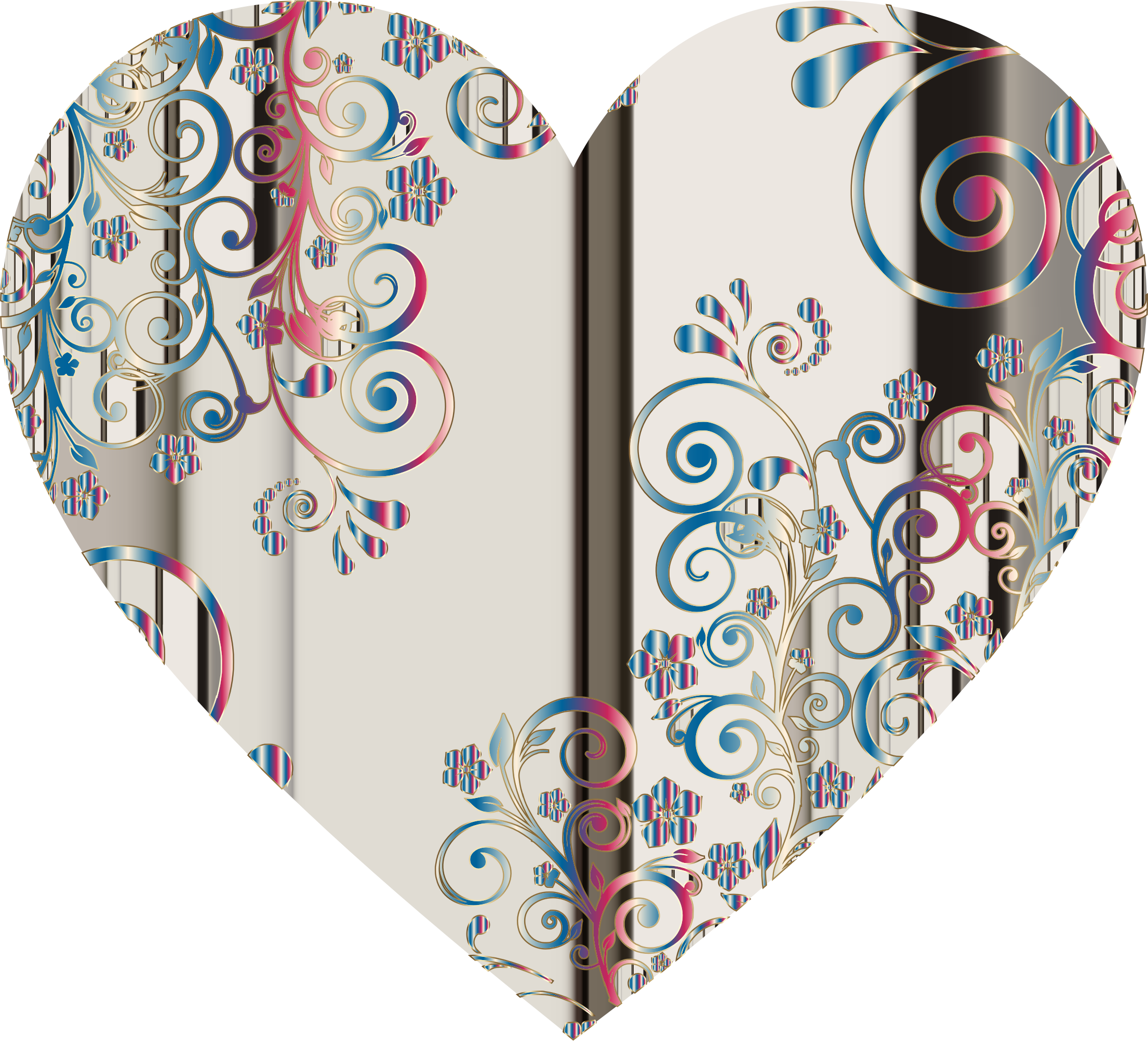 Prismatic Floral Flourish Heart 11 by GDJ