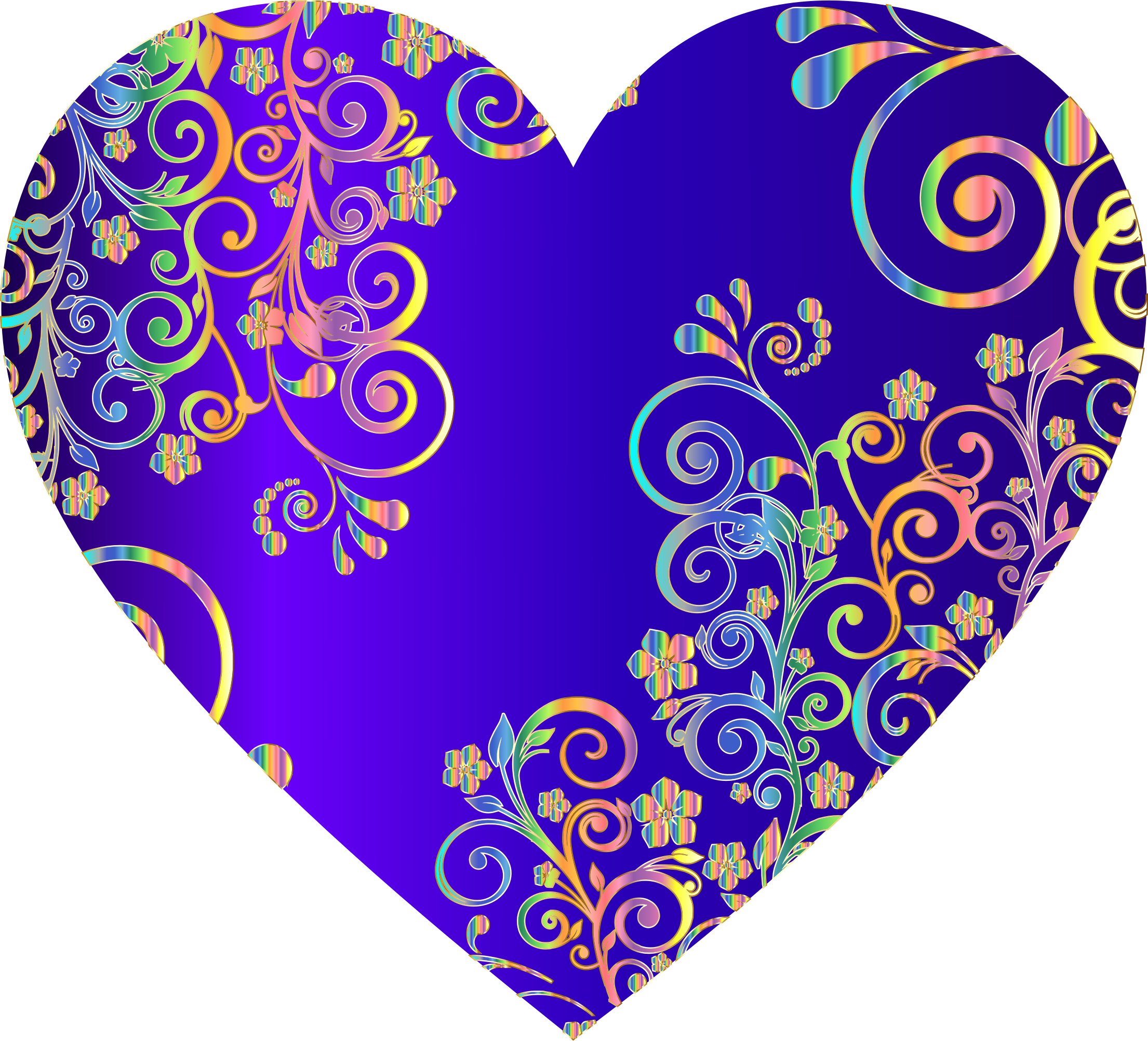 Prismatic Floral Flourish Heart 15 by GDJ