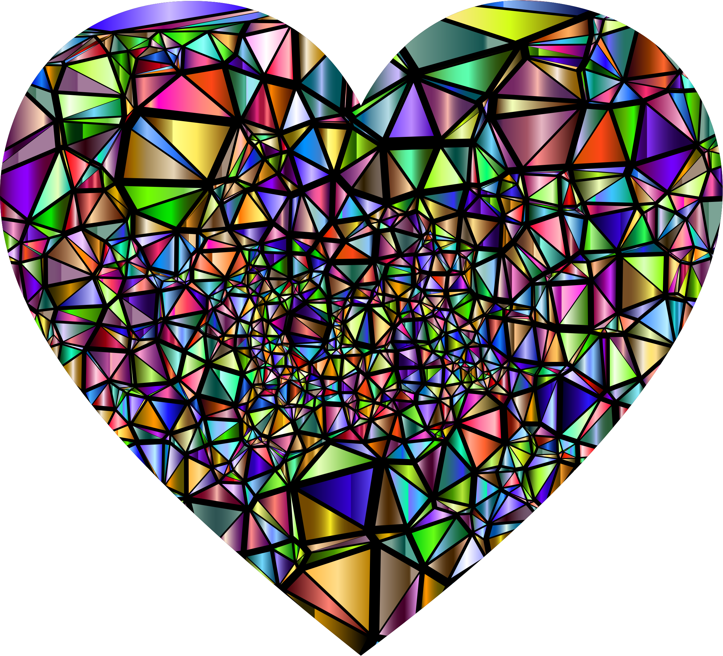 Low Poly Shattered Chromatic Heart With Background by GDJ