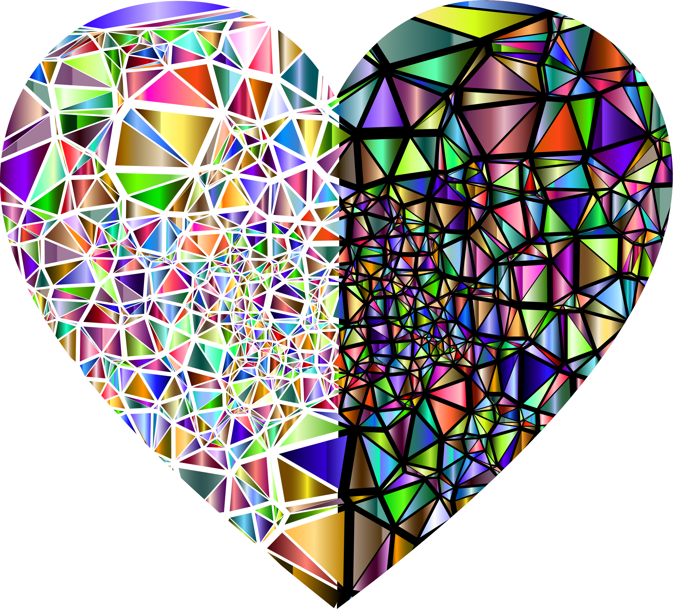 Low Poly Shattered Chromatic Heart With Background 2 by GDJ