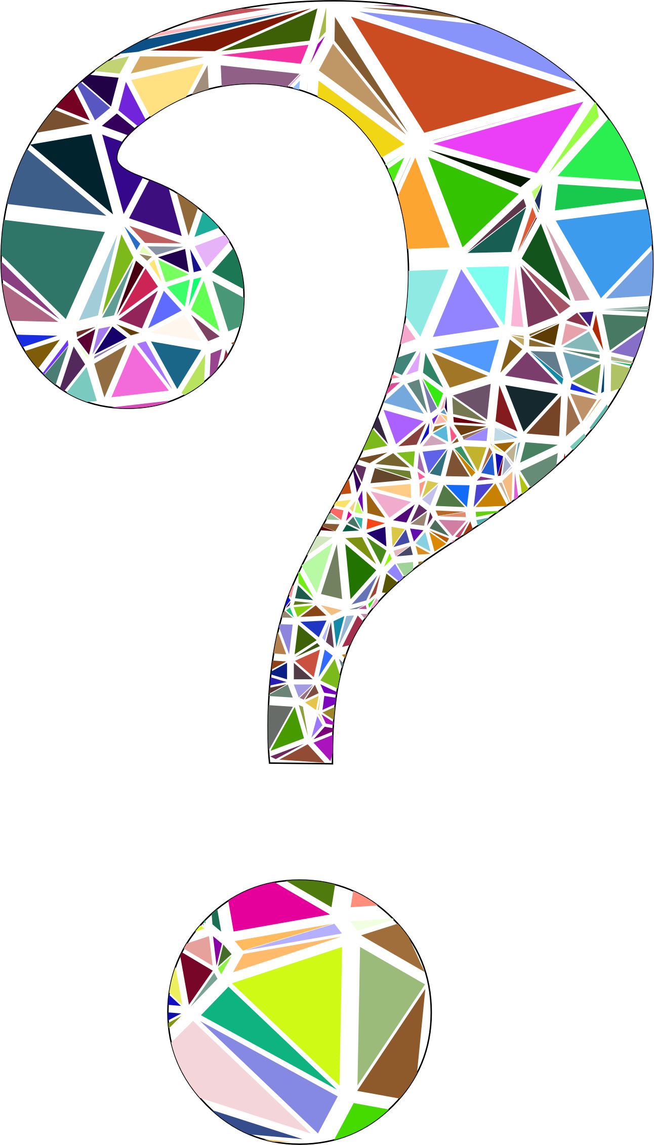 Low Poly Shattered Question Mark With Stroke by GDJ