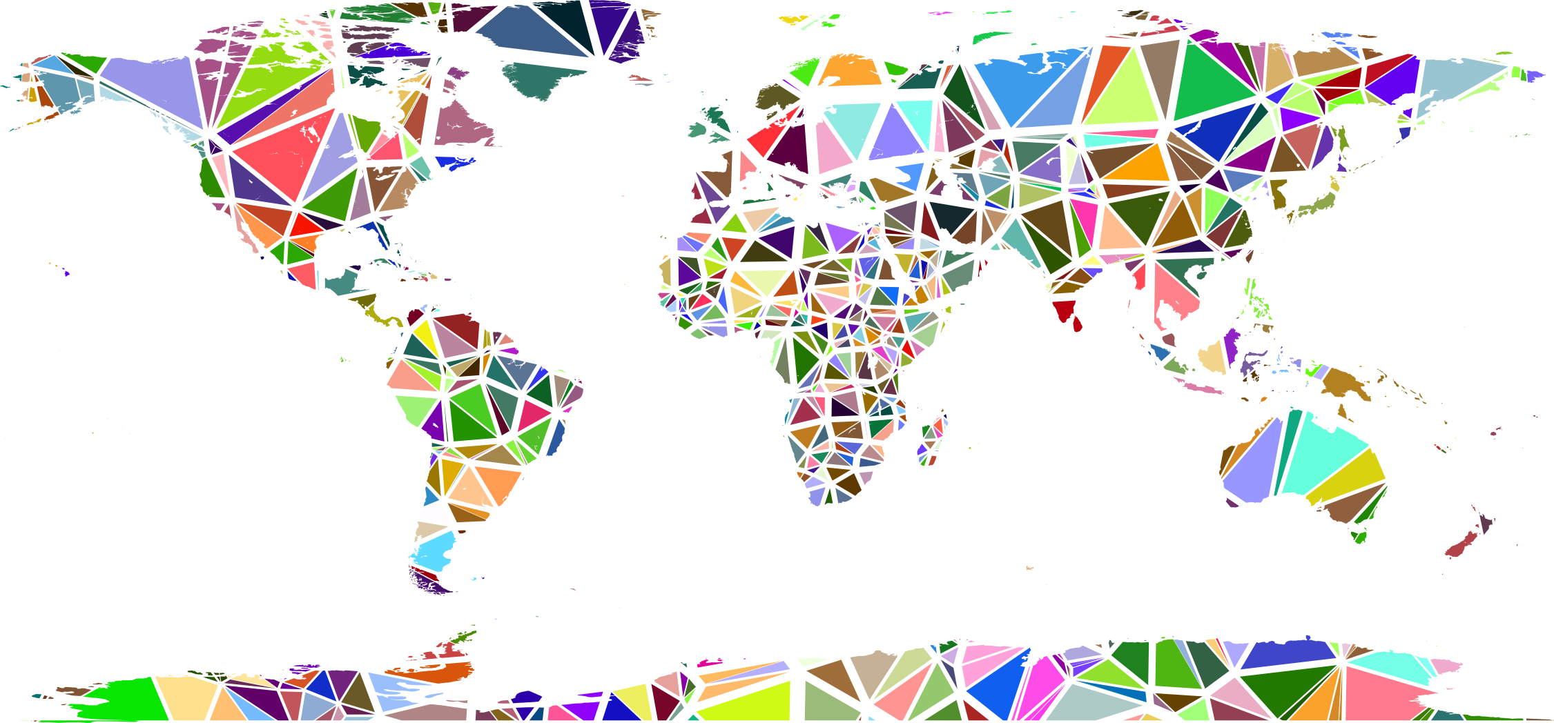 Clipart low poly shattered world map no background big image png gumiabroncs Images