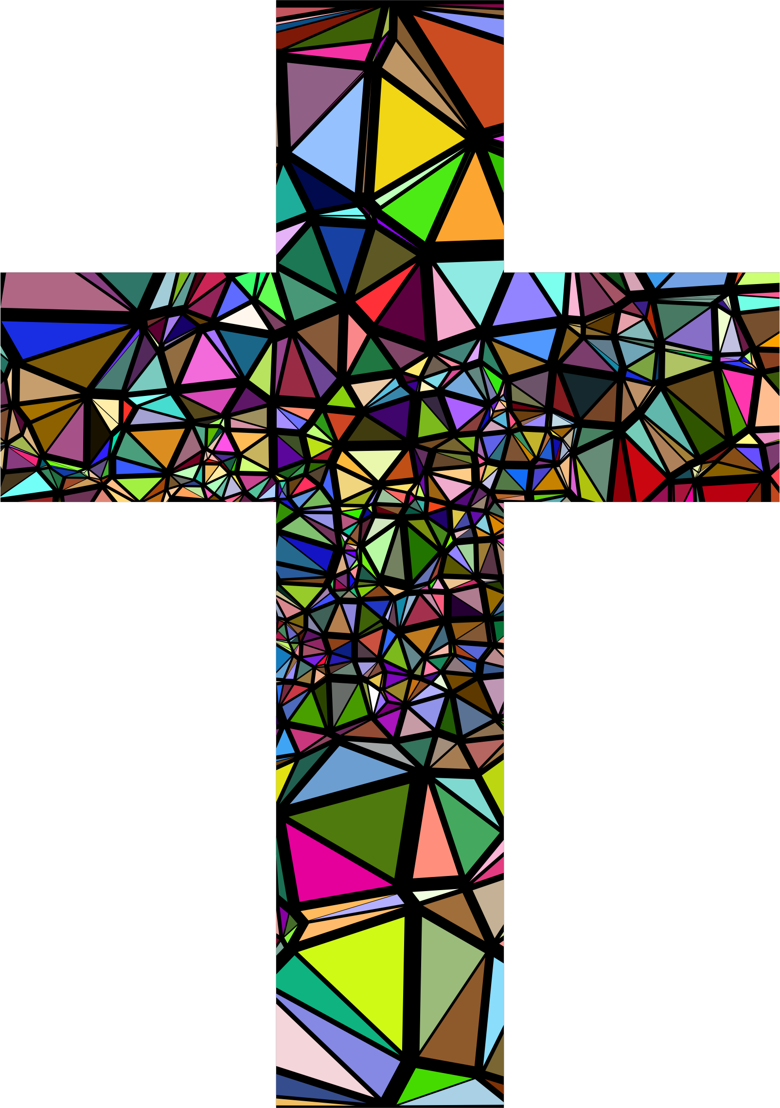 Clipart - Low Poly Stained Glass Cross With Background