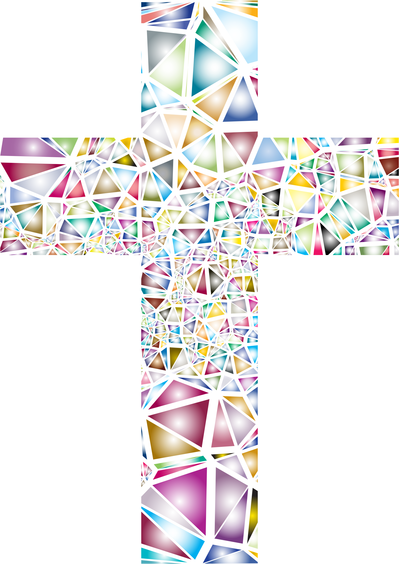 Low Poly Stained Glass Cross 2 No Background by GDJ