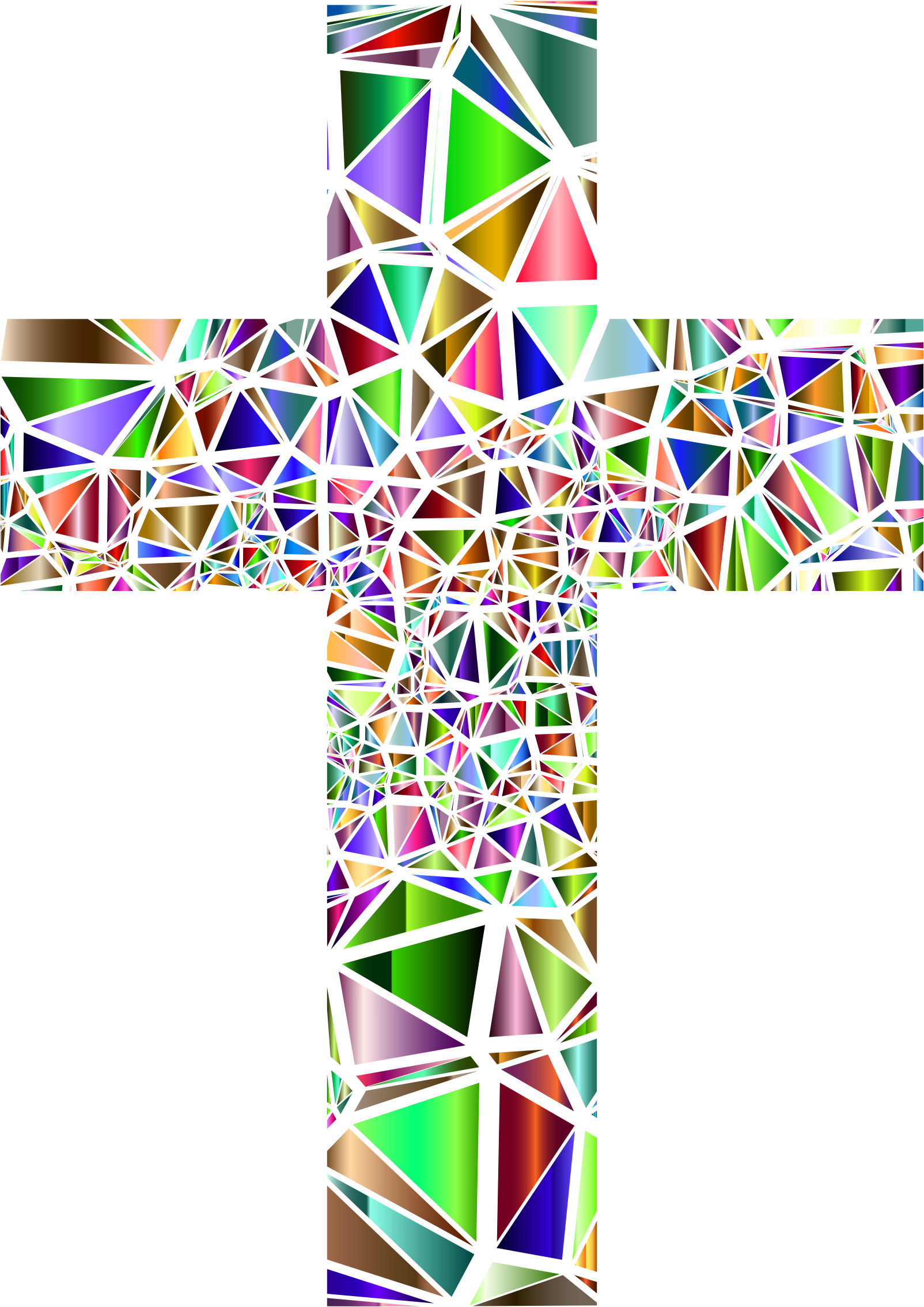 Low Poly Stained Glass Cross 5 No Background by GDJ