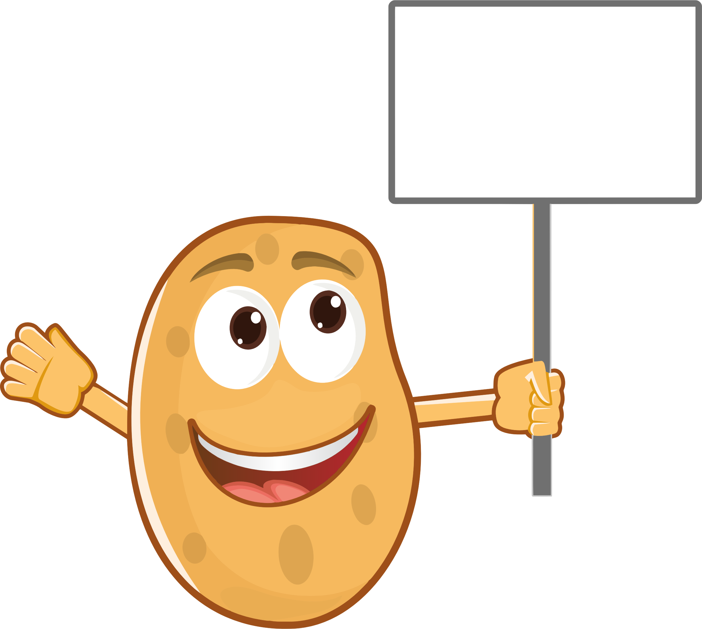 Clipart - Anthropomorphic Potato Holding Sign