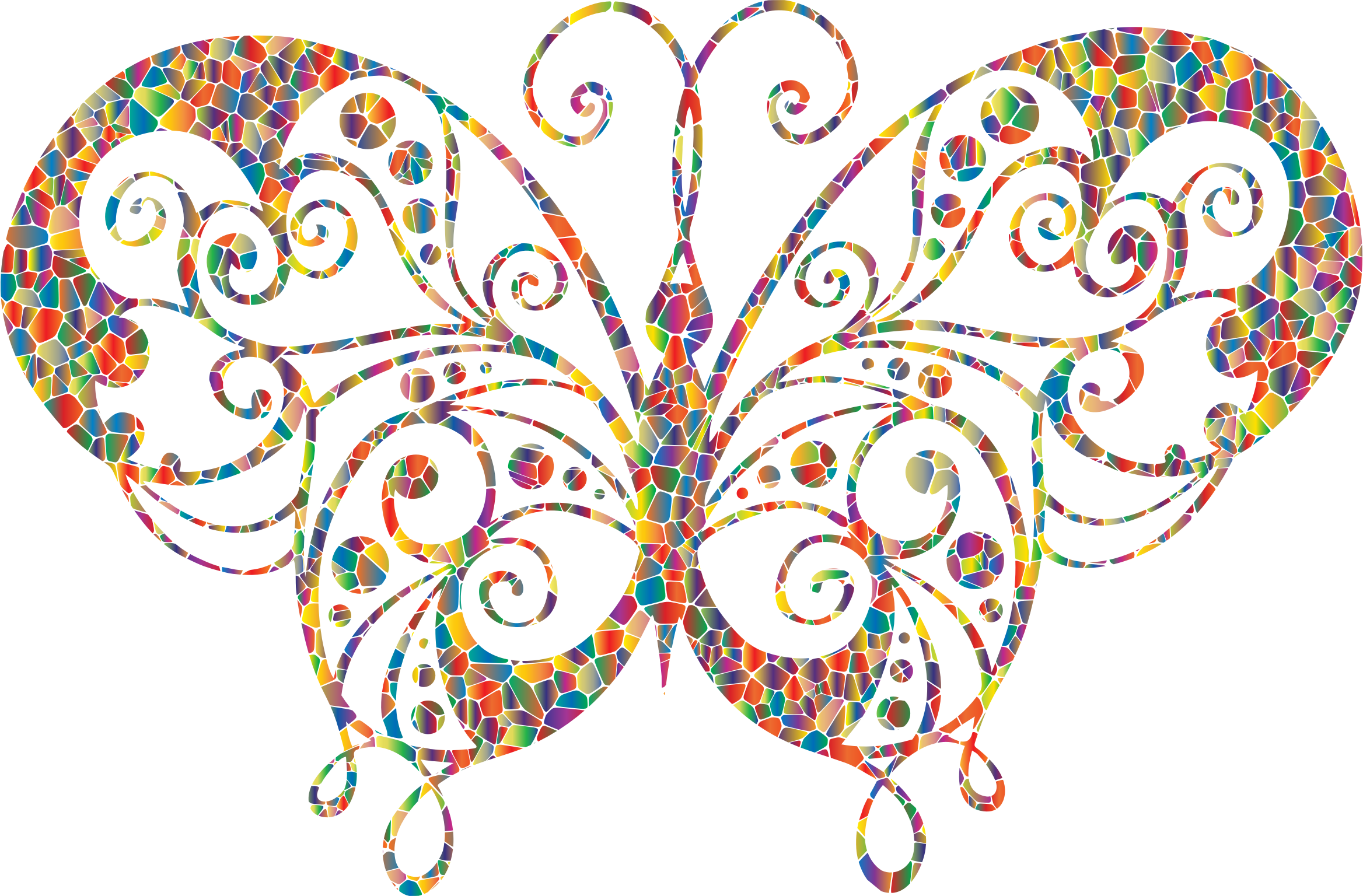Polyprismatic Tiled Flourish Butterfly Silhouette by GDJ