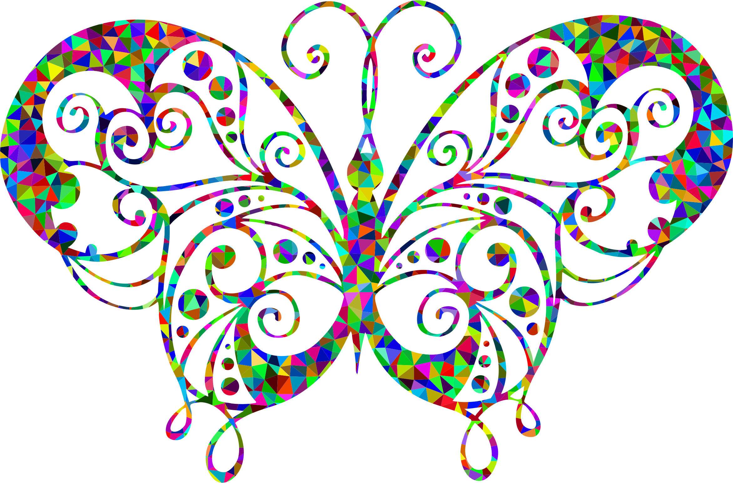 Low Poly Prismatic Flourish Butterfly Silhouette by GDJ