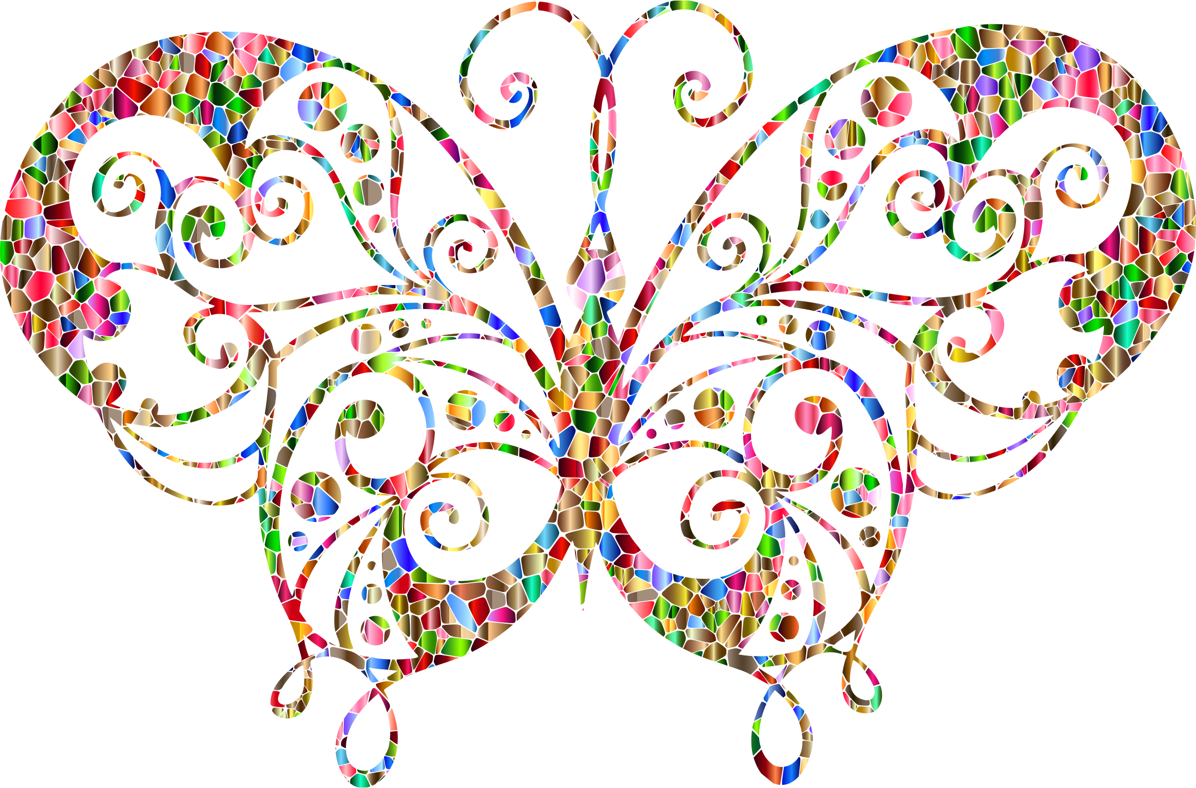 Chromatic Tiled Flourish Butterfly Silhouette by GDJ