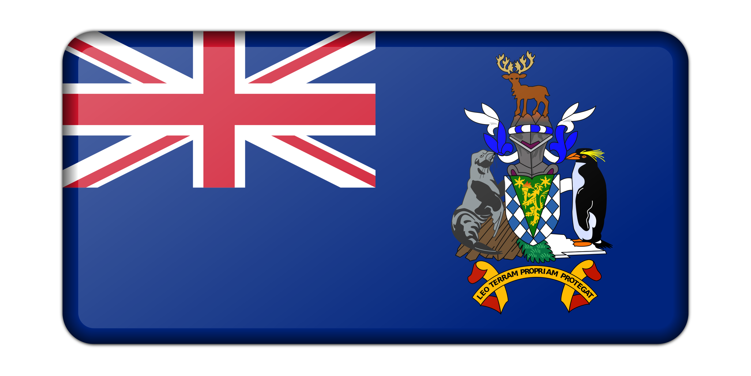 Flag of the South Georgia and South Sandwich Islands (bevelled) by Firkin