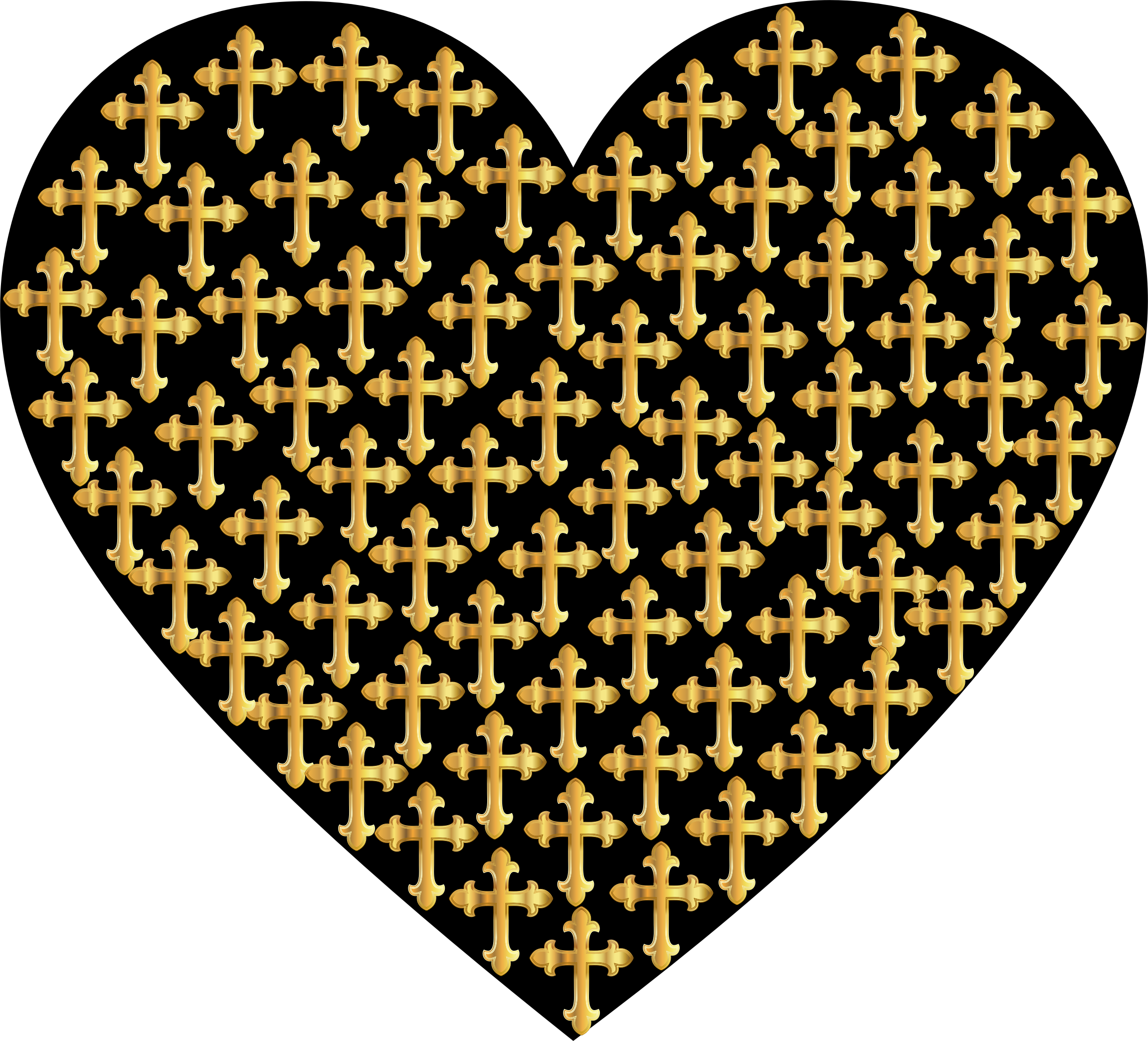 Love Heart Crosses Gold by GDJ