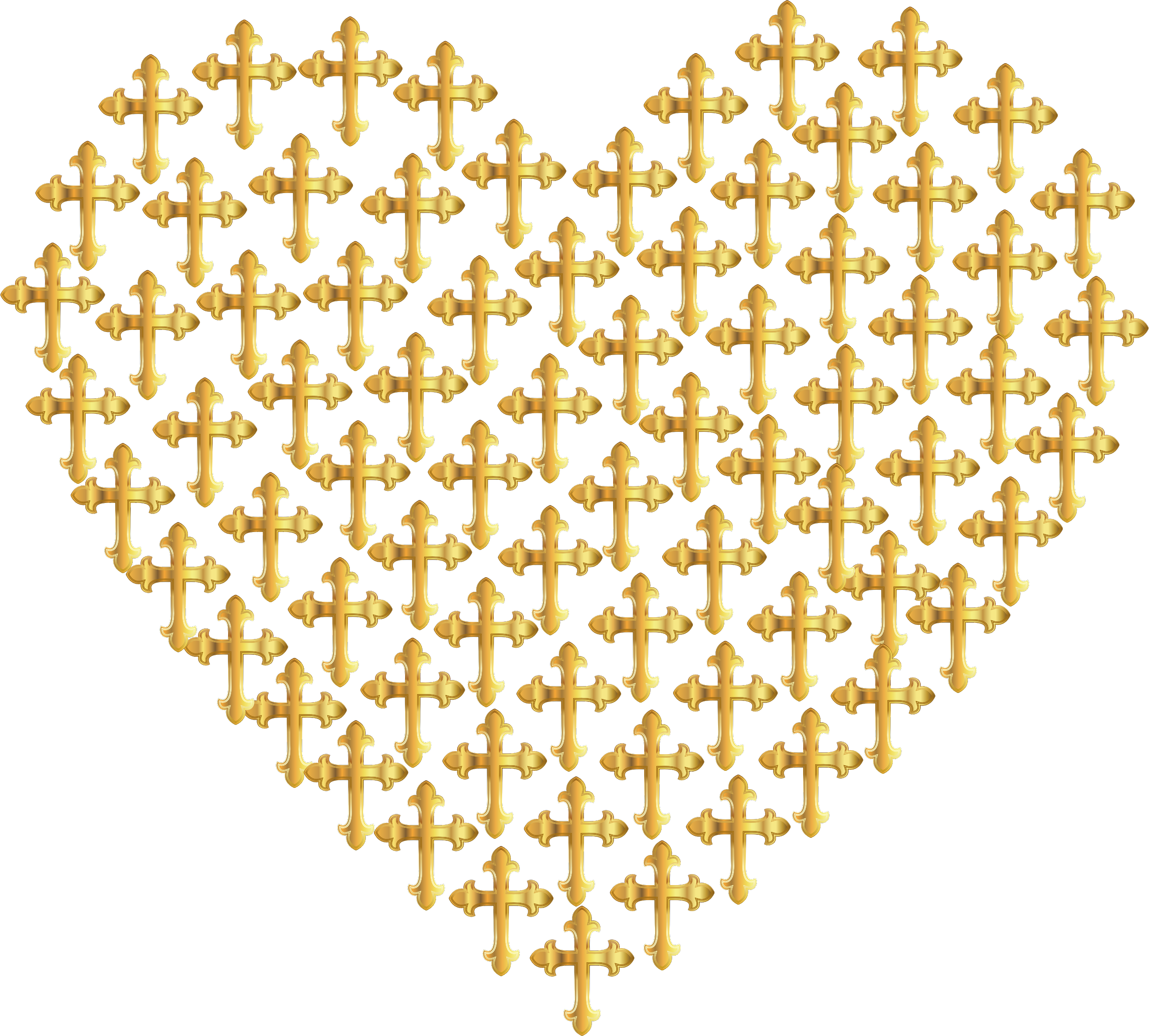 Love Heart Crosses Gold No Background by GDJ