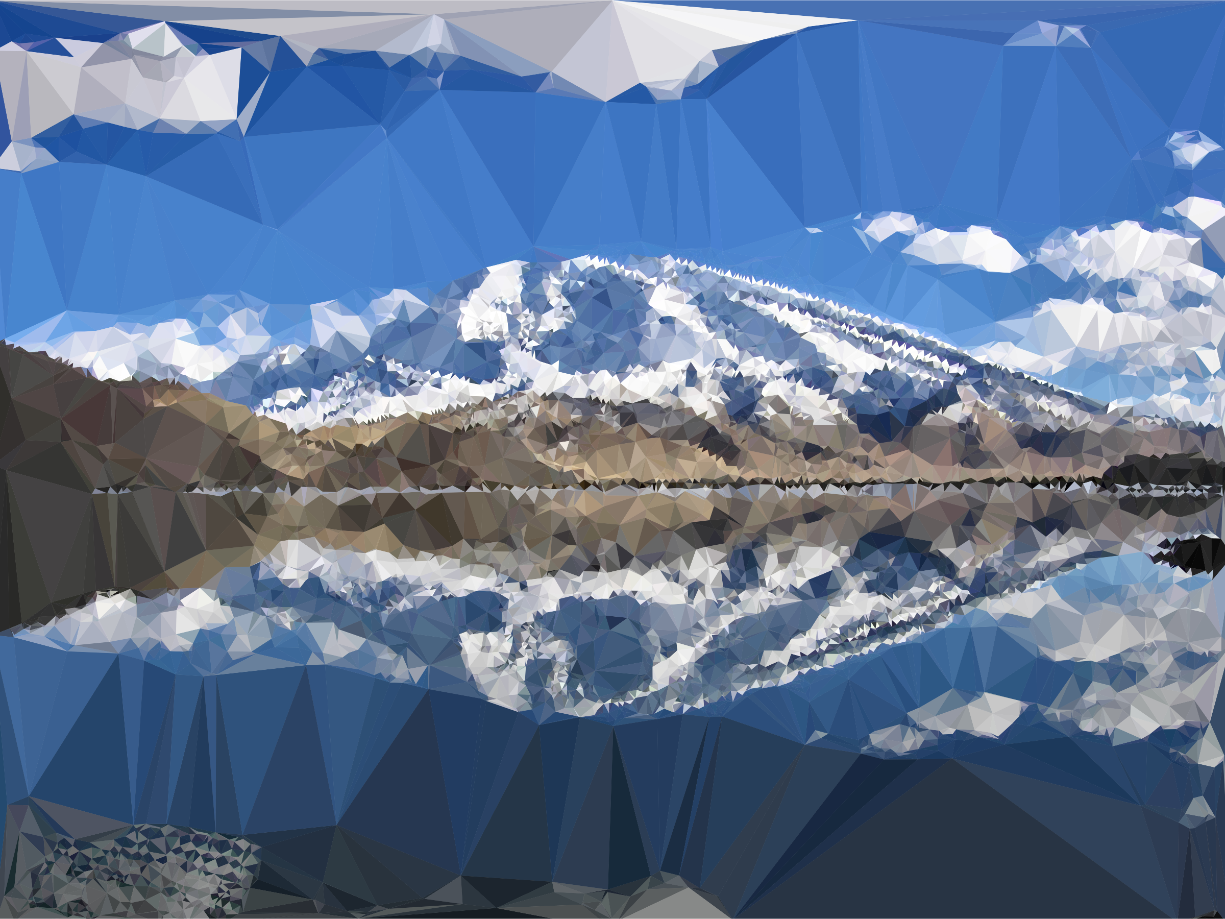 Low Poly Chinese Mountain Lake Reflection by GDJ