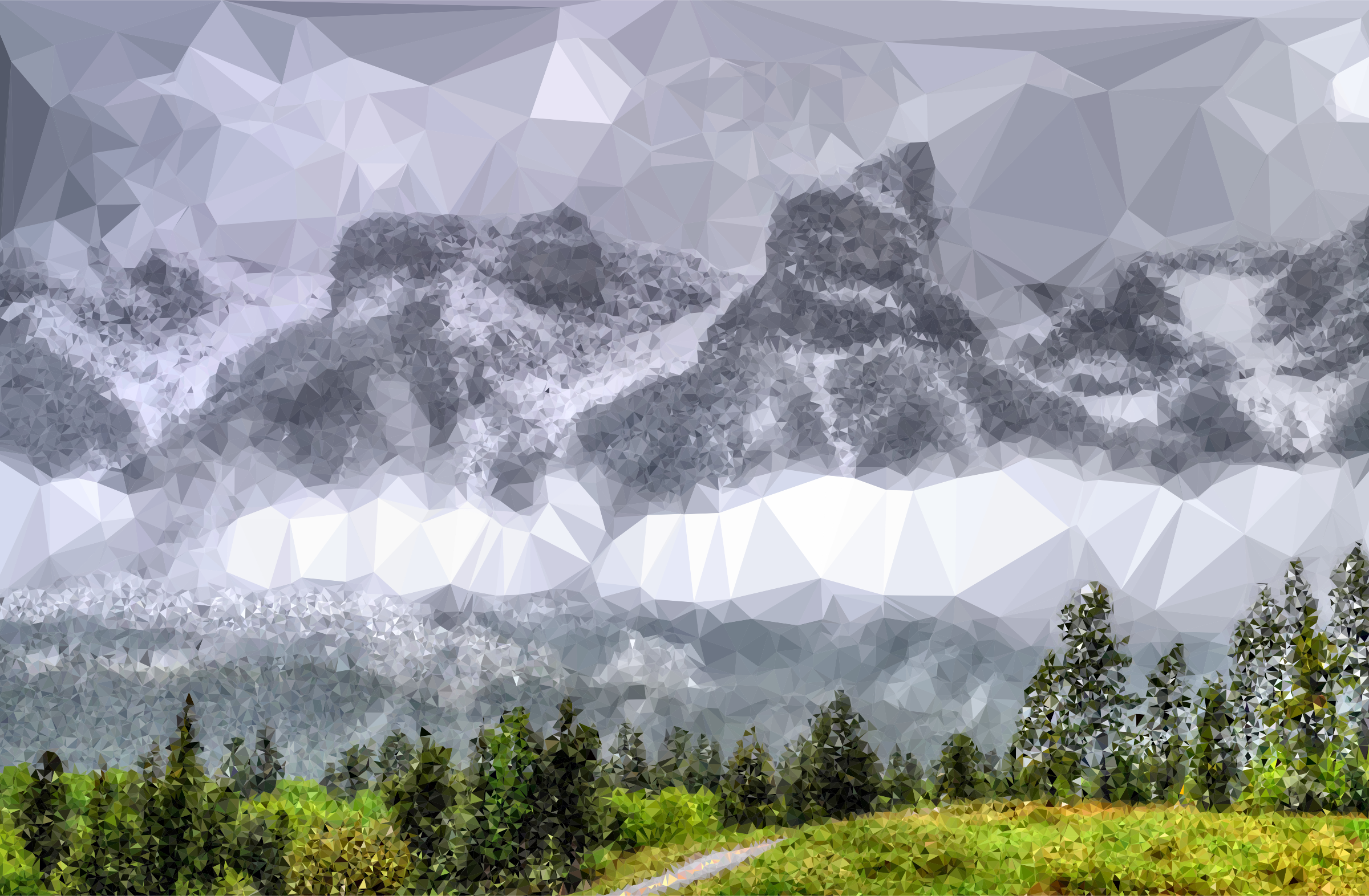 Low Poly Fog Enshrouded Mountains by GDJ