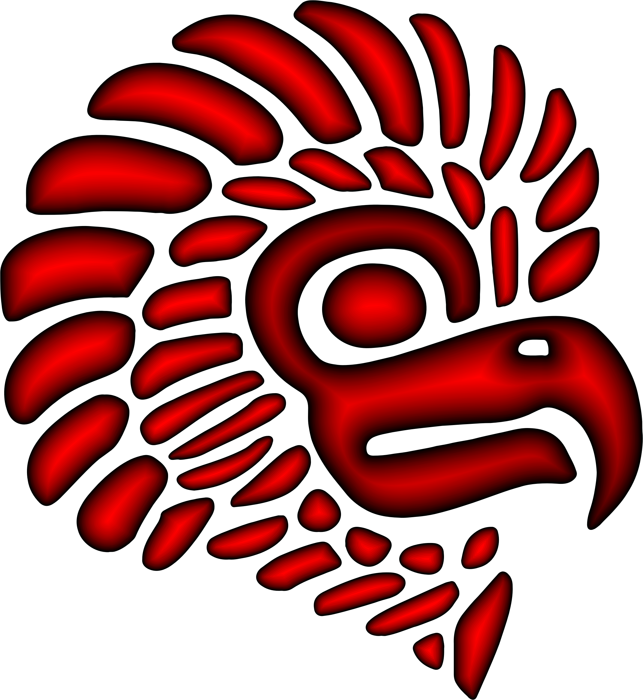 Crimson Stylized Mexican Eagle Silhouette by GDJ