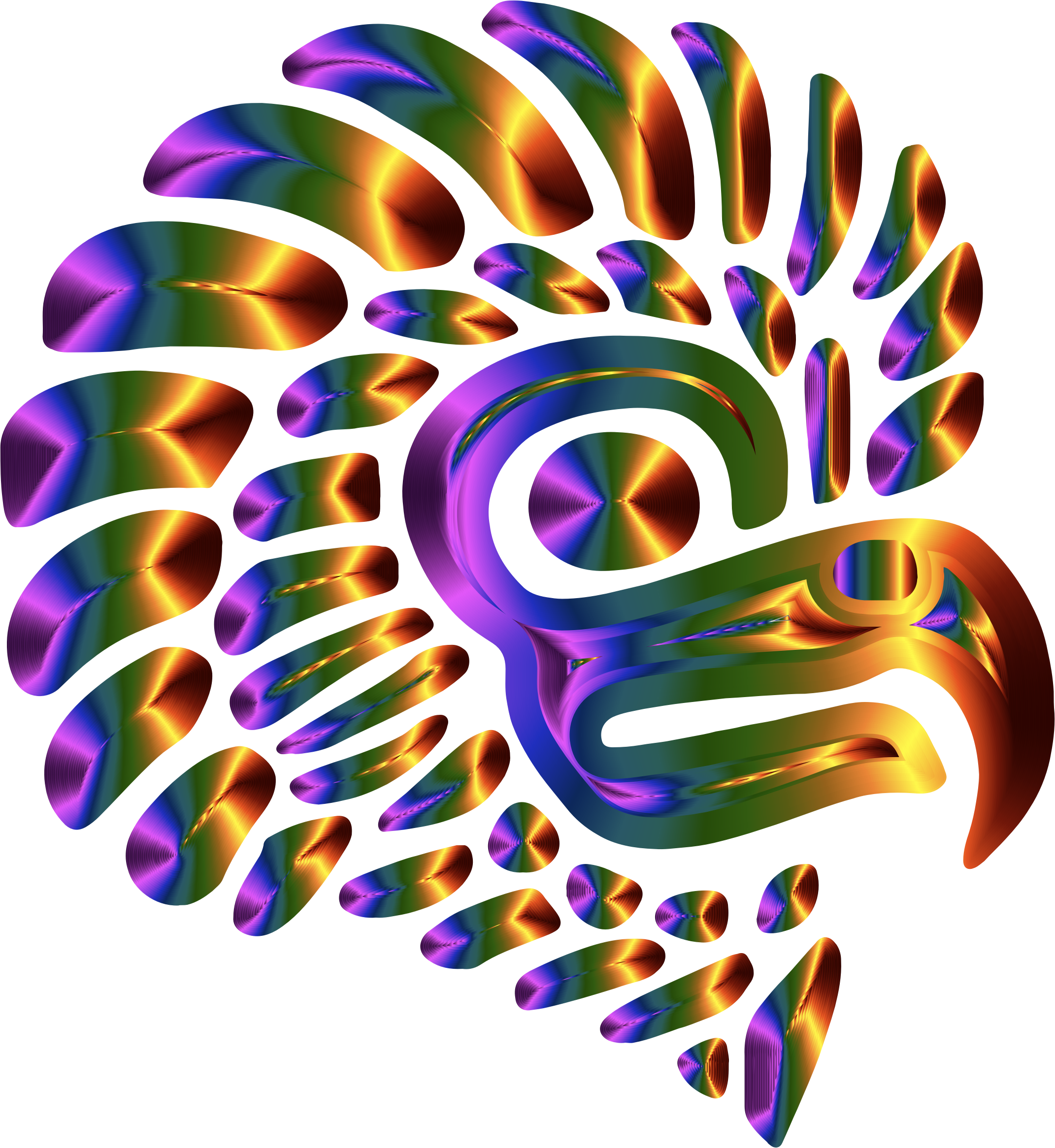 Prismatic Stylized Mexican Eagle Silhouette 5 by GDJ