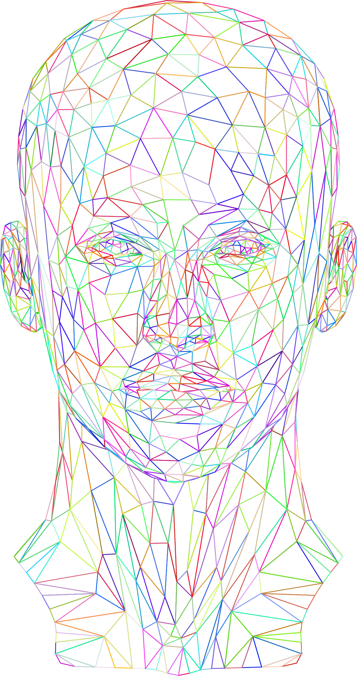 Prismatic Low Poly Female Head Wireframe No Background by GDJ