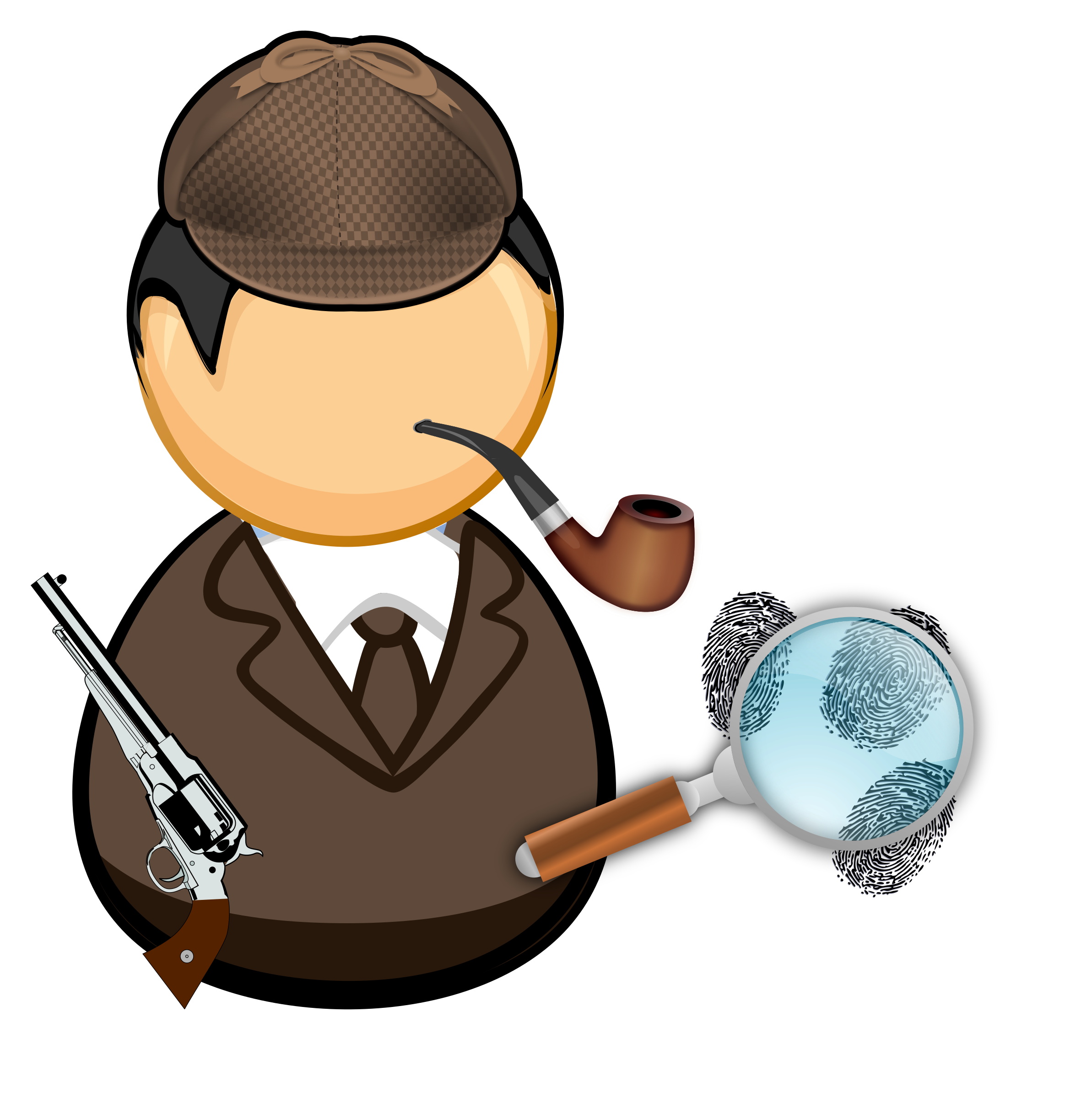 Detective with pipe and magnifying glass by Juhele
