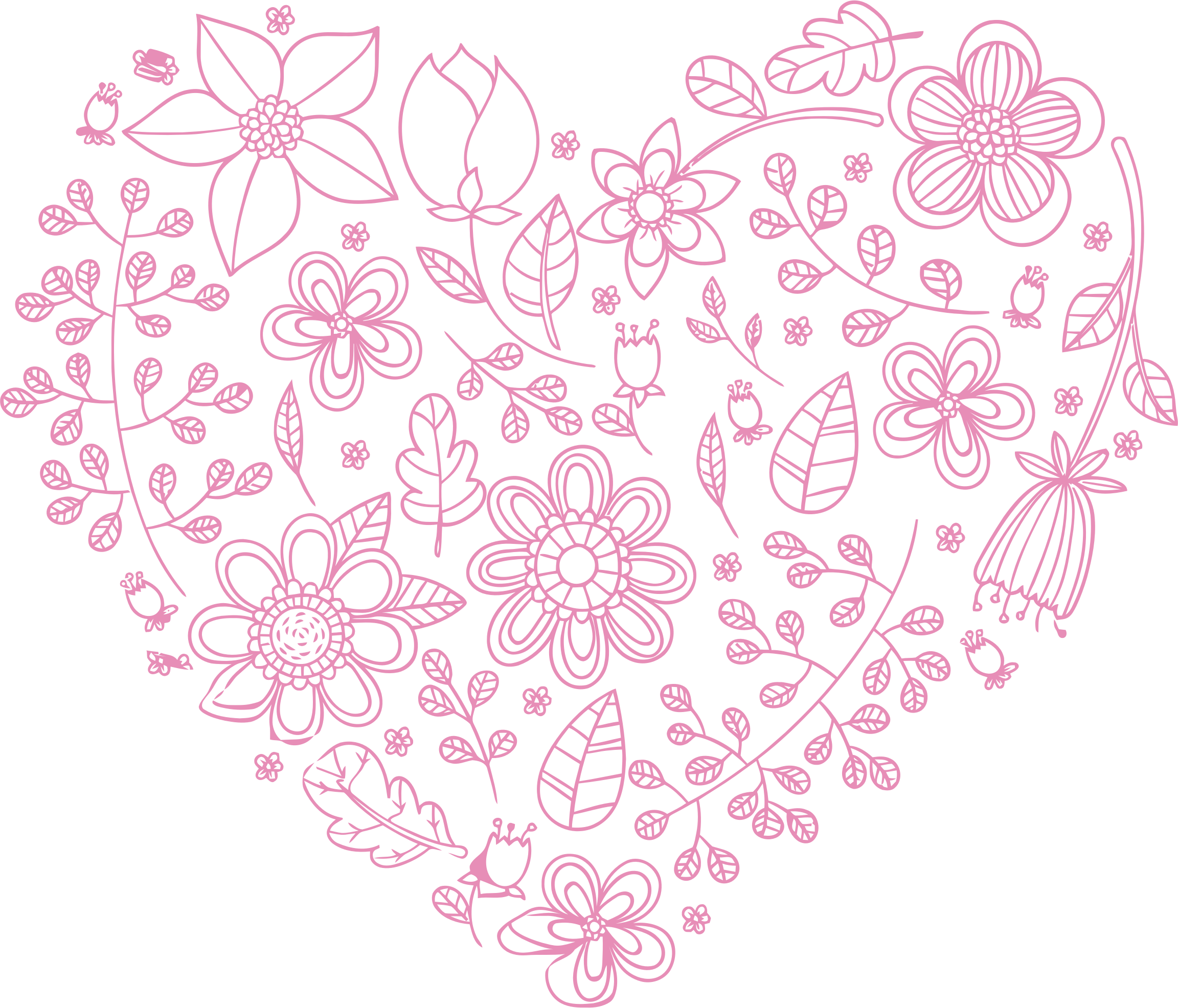 Pink Floral Heart by GDJ