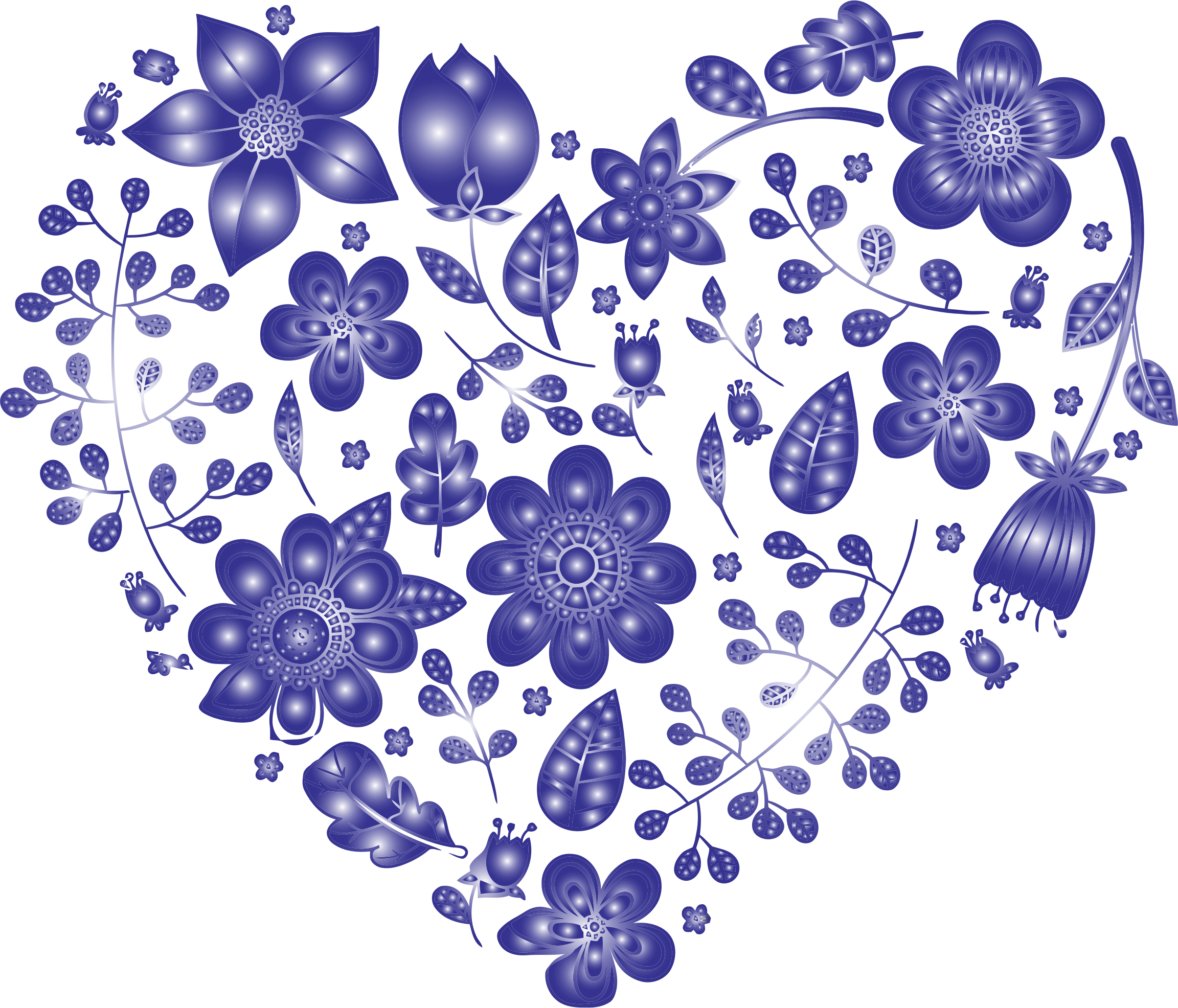 Violet Floral Heart No Background by GDJ