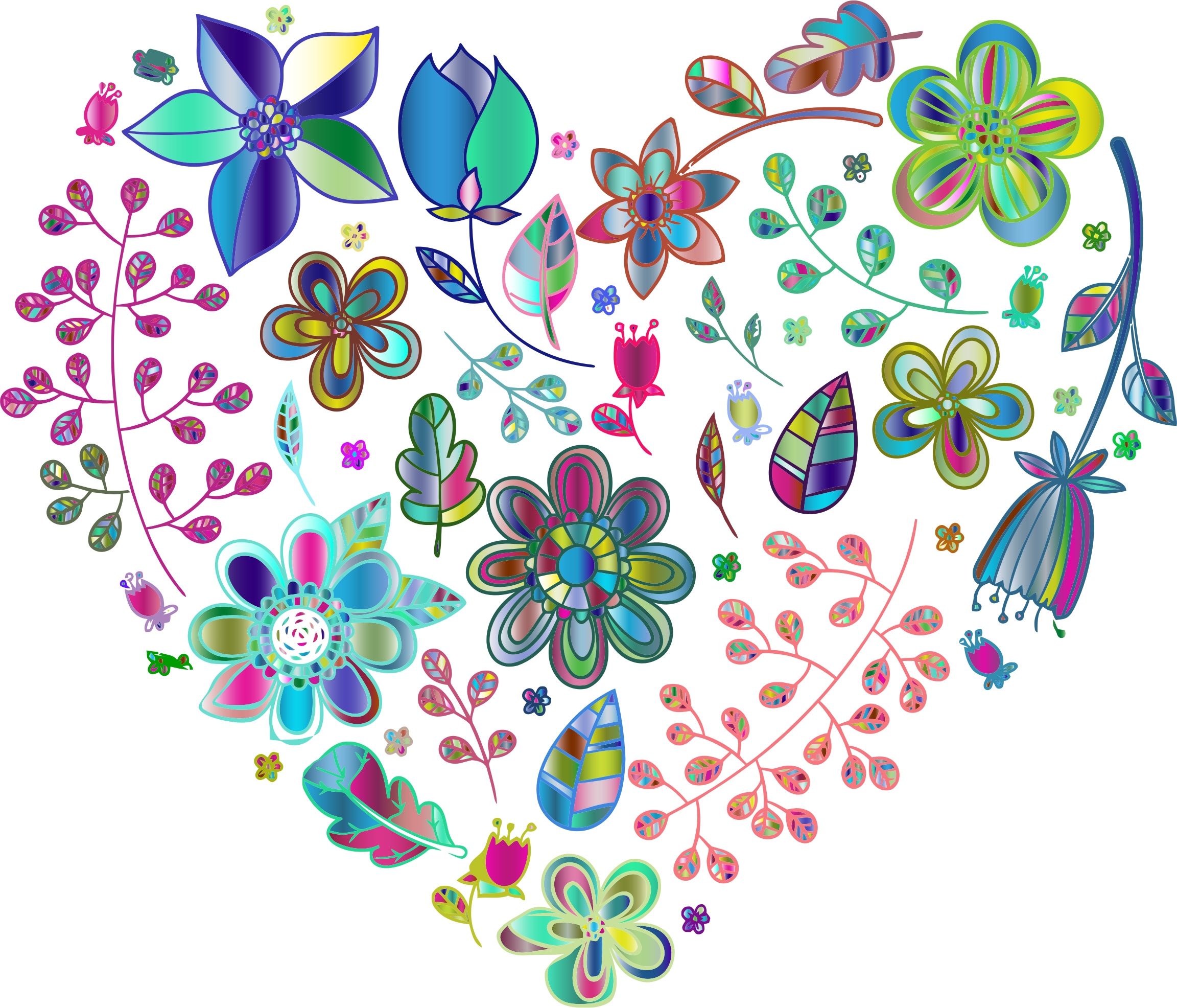 Prismatic Psychedelic Floral Heart No Background by GDJ