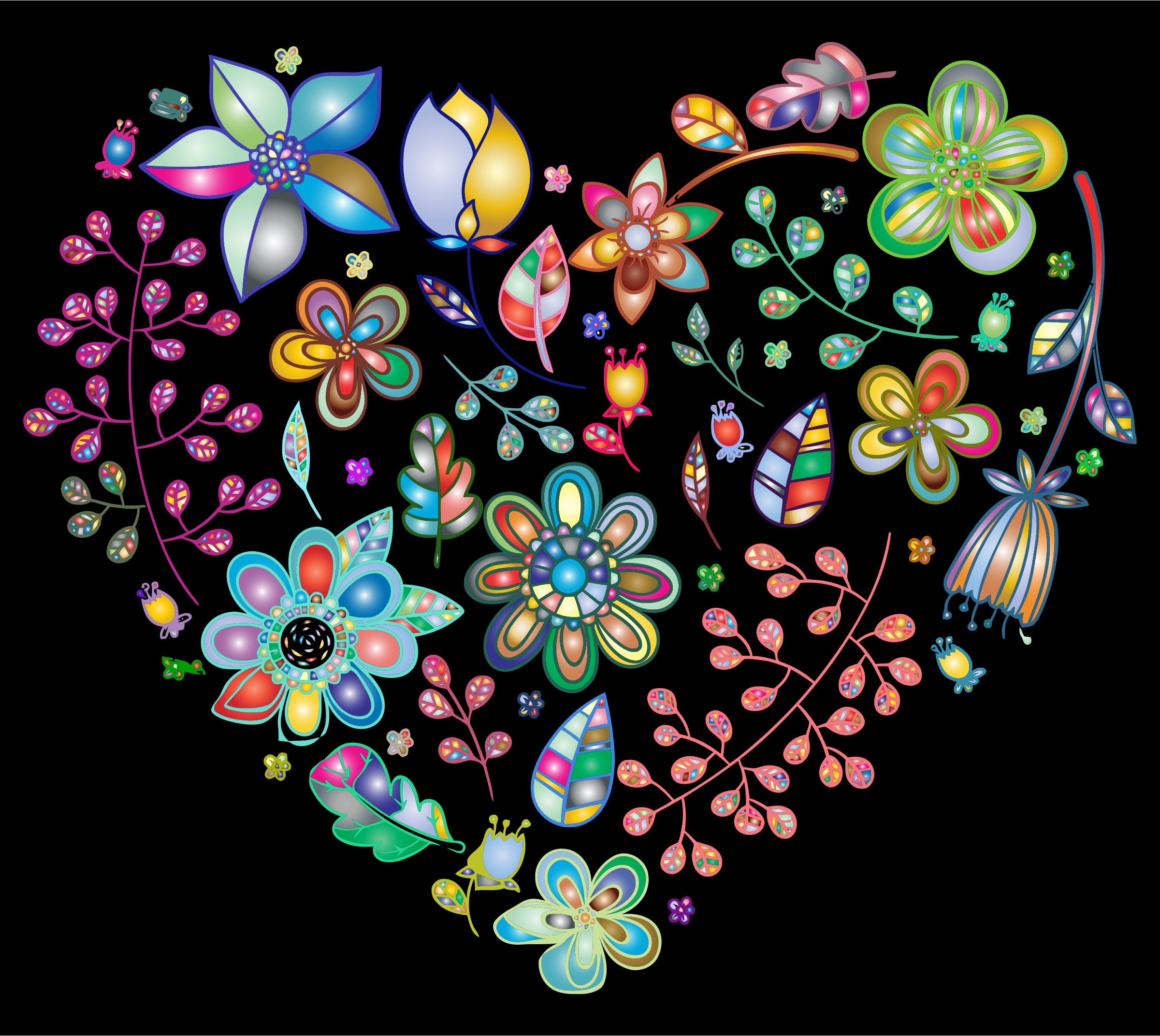 Prismatic Psychedelic Floral Heart 2 by GDJ