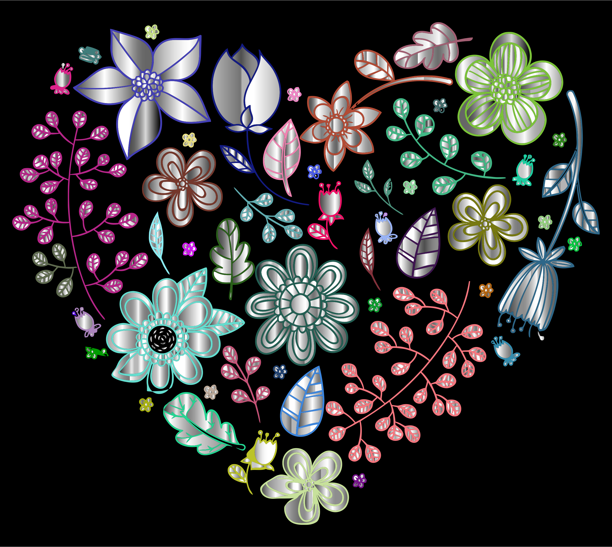 Prismatic Psychedelic Floral Heart 3 by GDJ