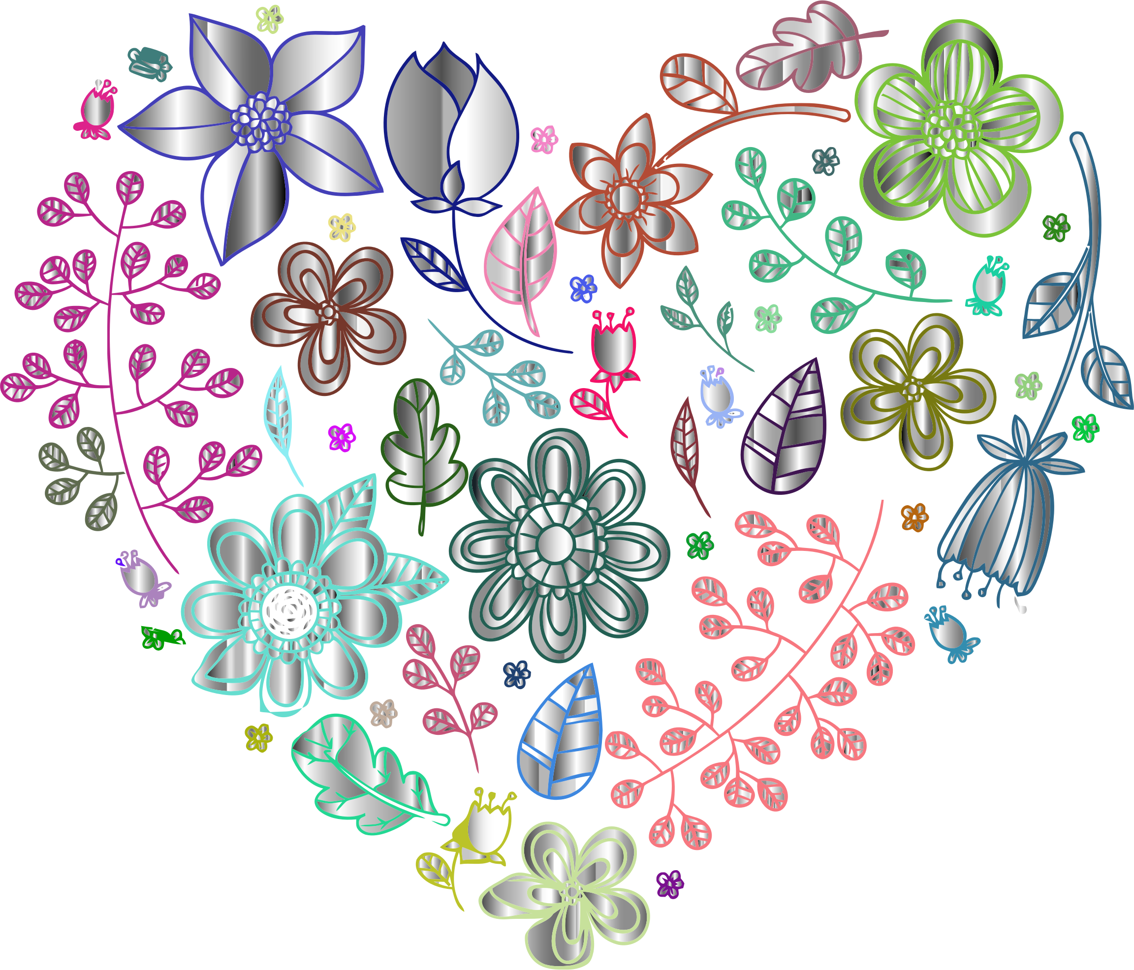 Prismatic Psychedelic Floral Heart 3 No Background by GDJ