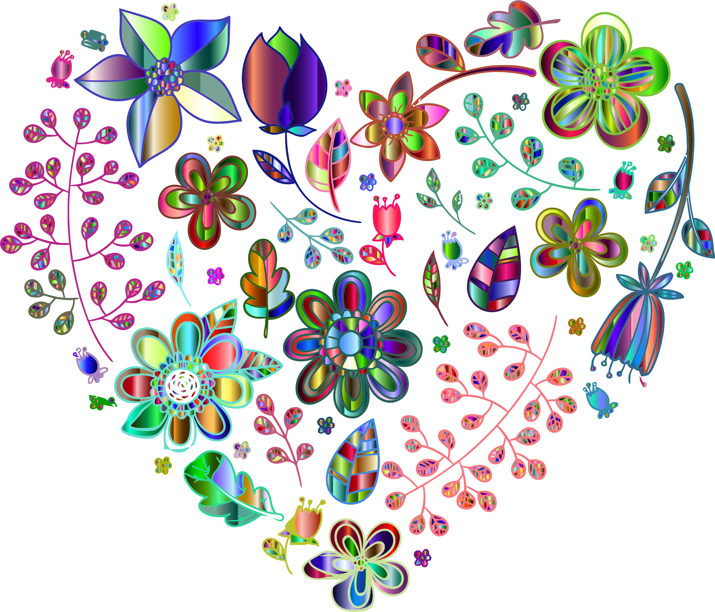 Prismatic Psychedelic Floral Heart 4 No Background by GDJ