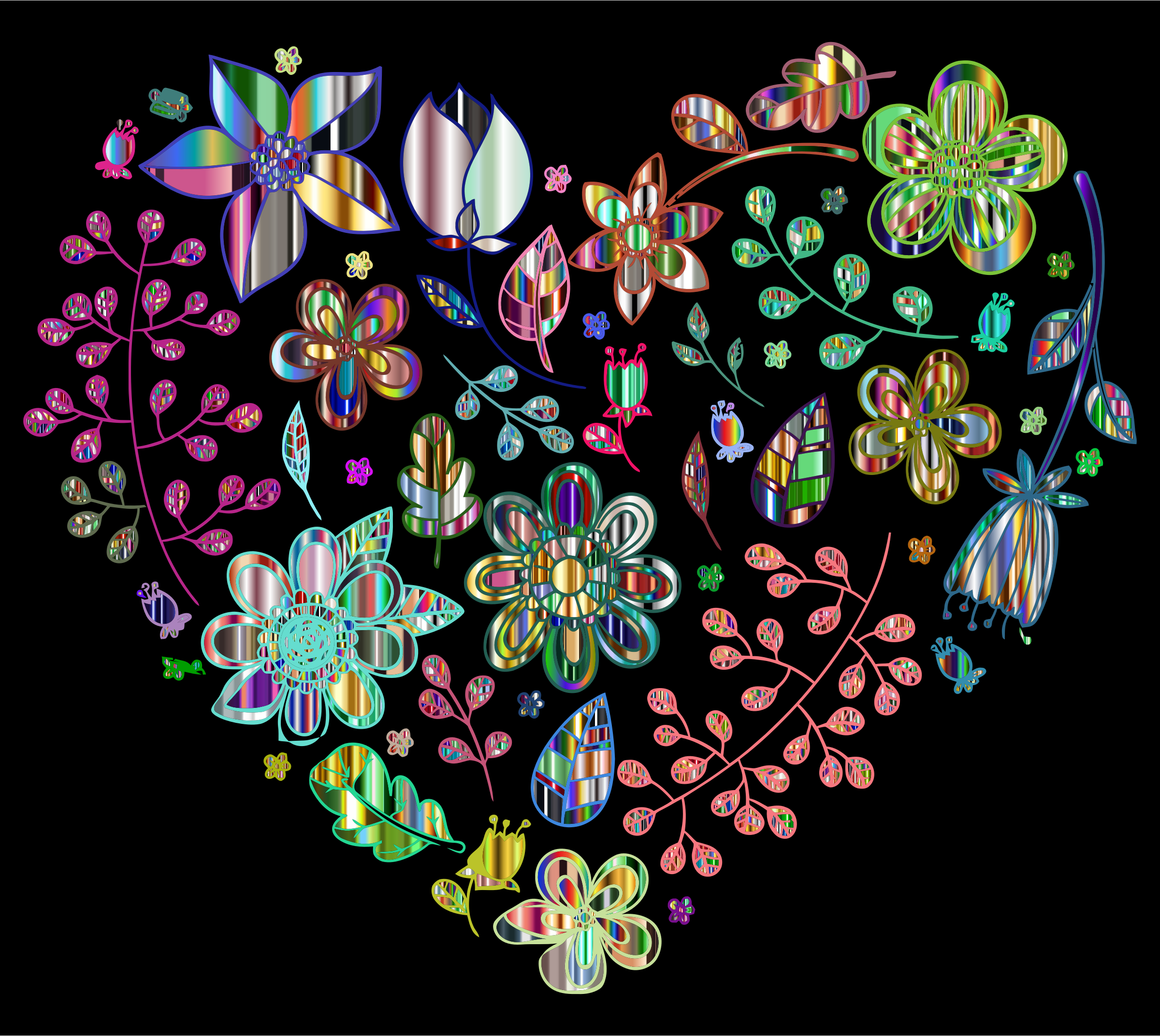 Prismatic Psychedelic Floral Heart 6 by GDJ