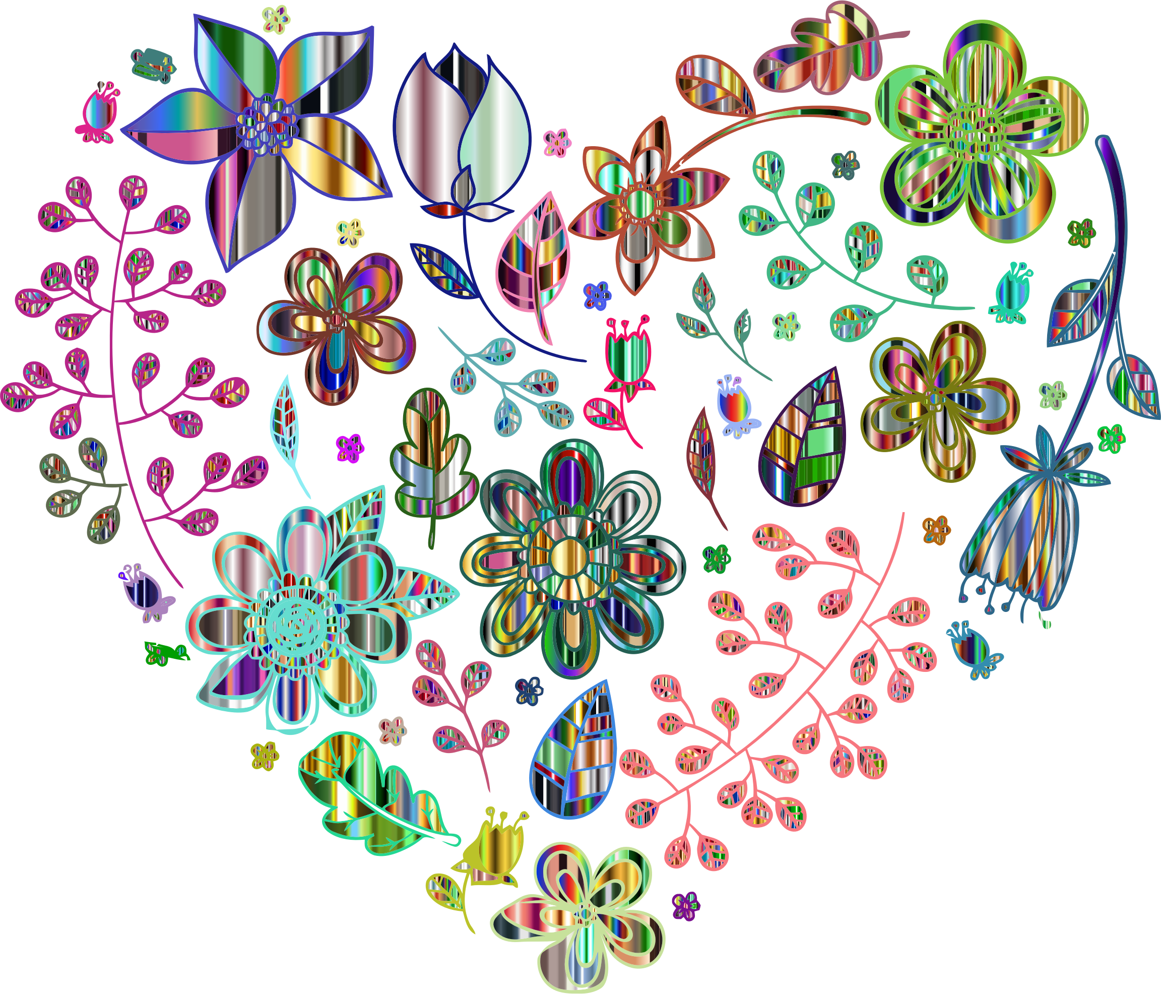 Prismatic Psychedelic Floral Heart 6 No Background by GDJ