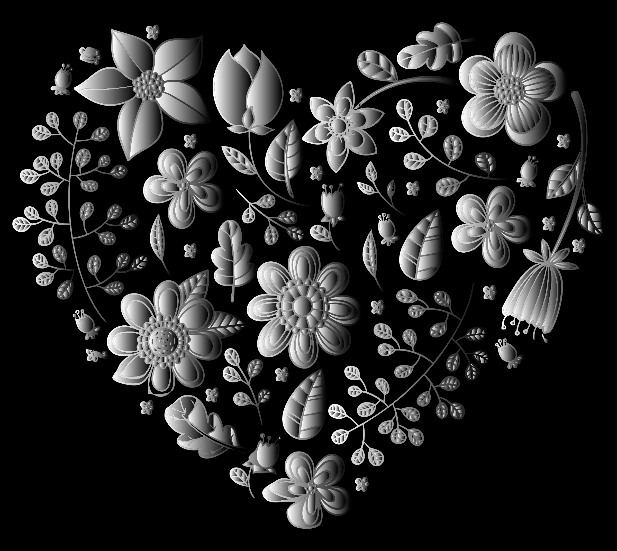 Grayscale Floral Heart by GDJ