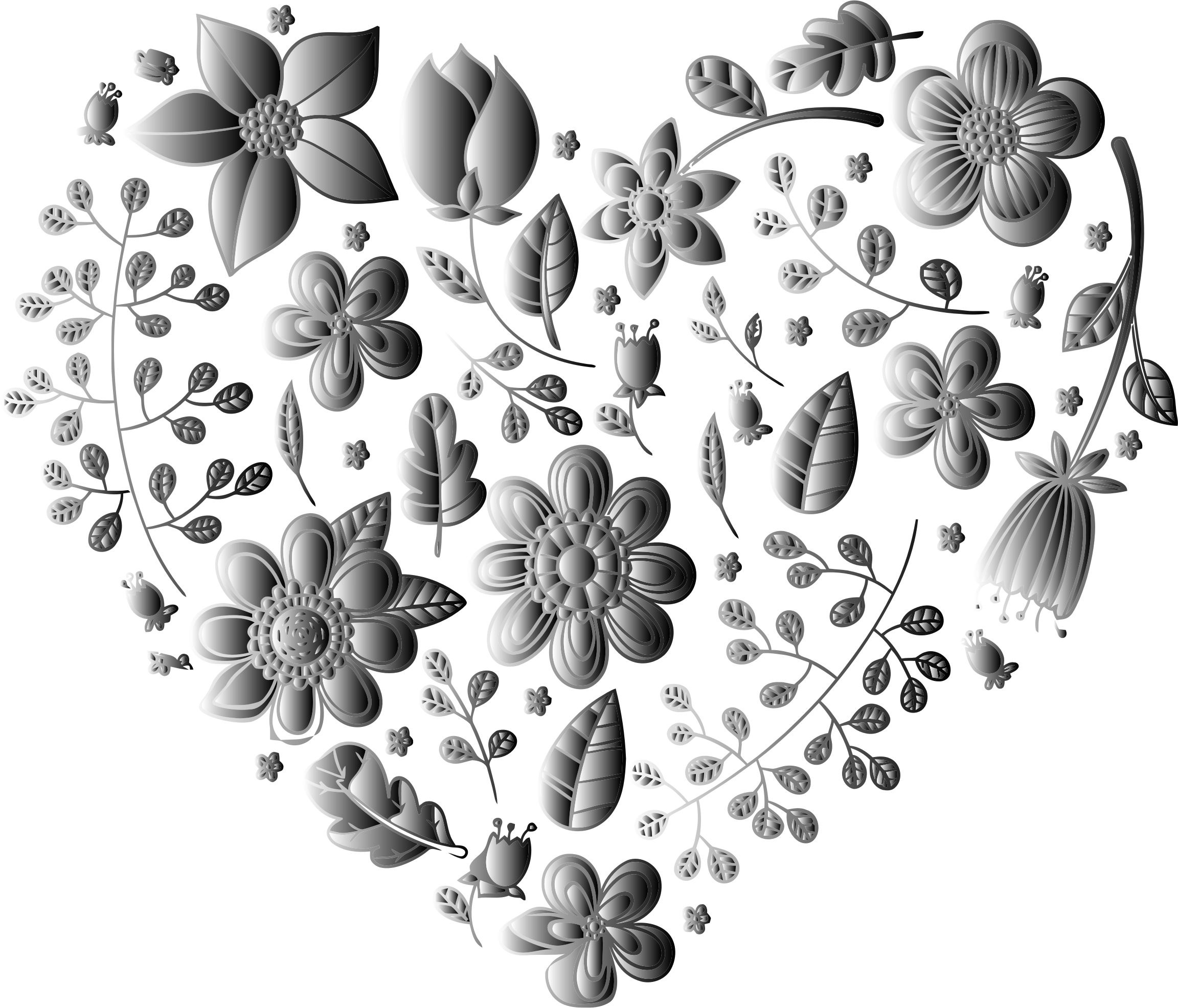 Grayscale Floral Heart No Background by GDJ
