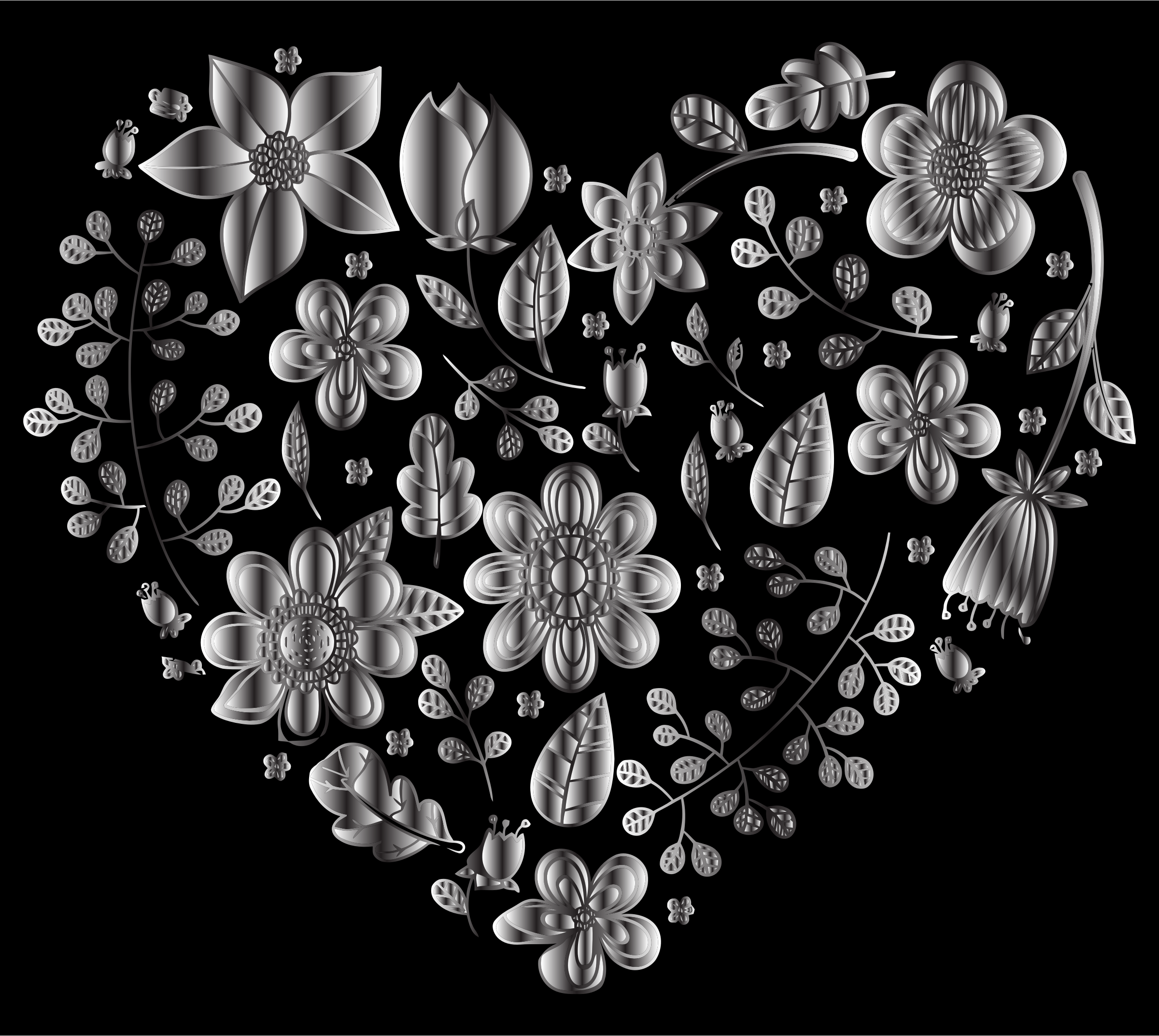 Grayscale Floral Heart 2 by GDJ