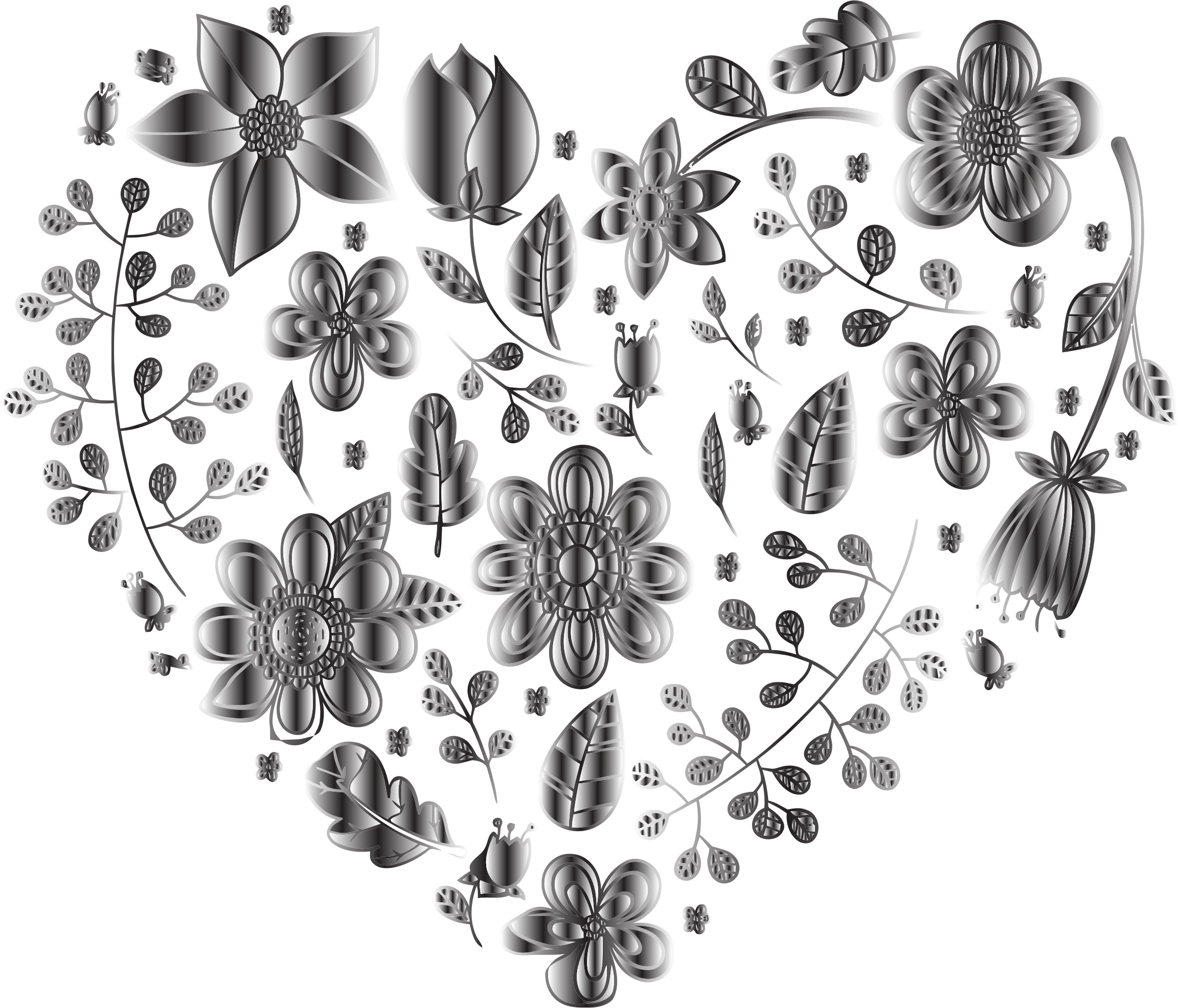Grayscale Floral Heart 2 No Background by GDJ