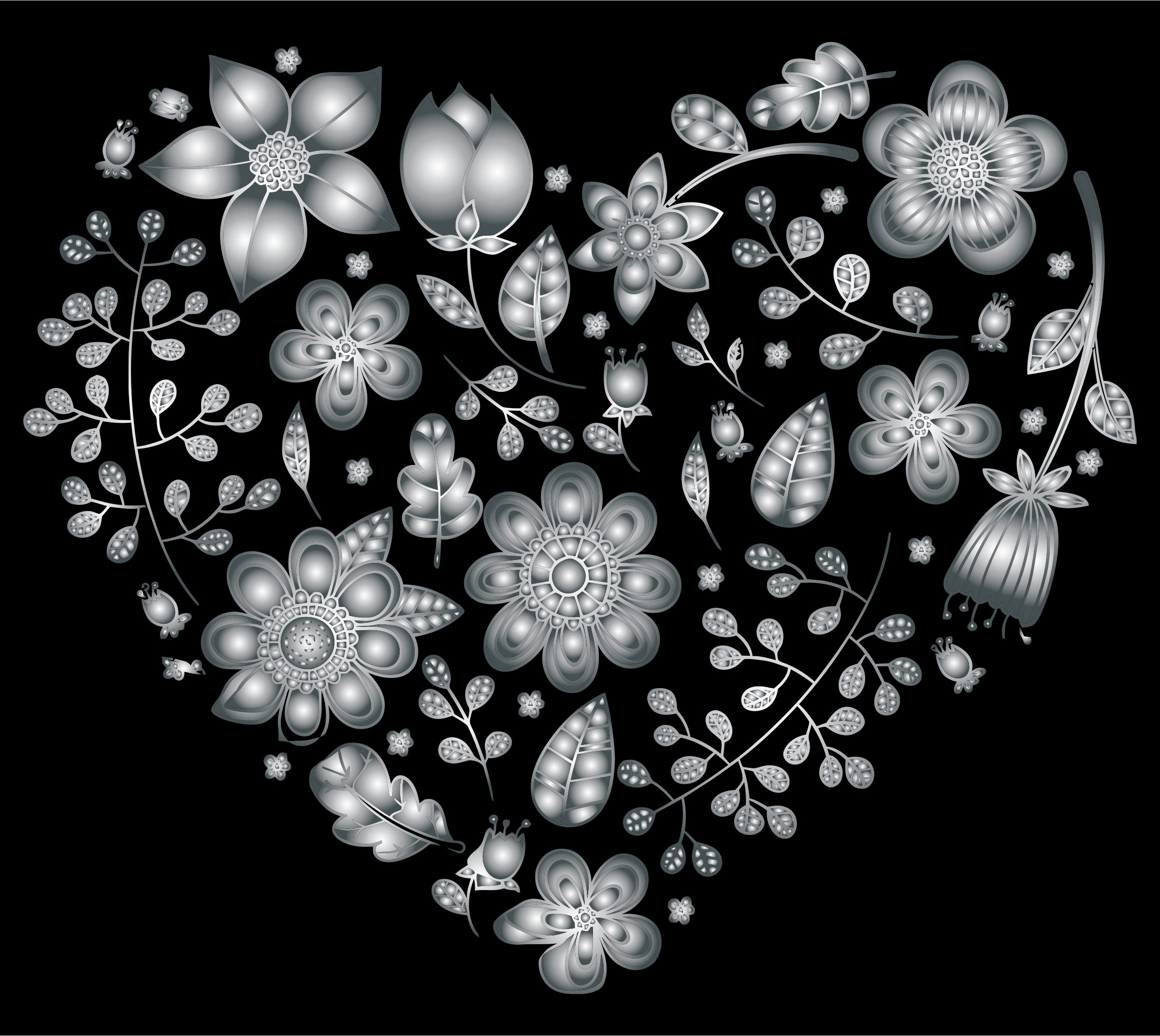 Grayscale Floral Heart 3 by GDJ
