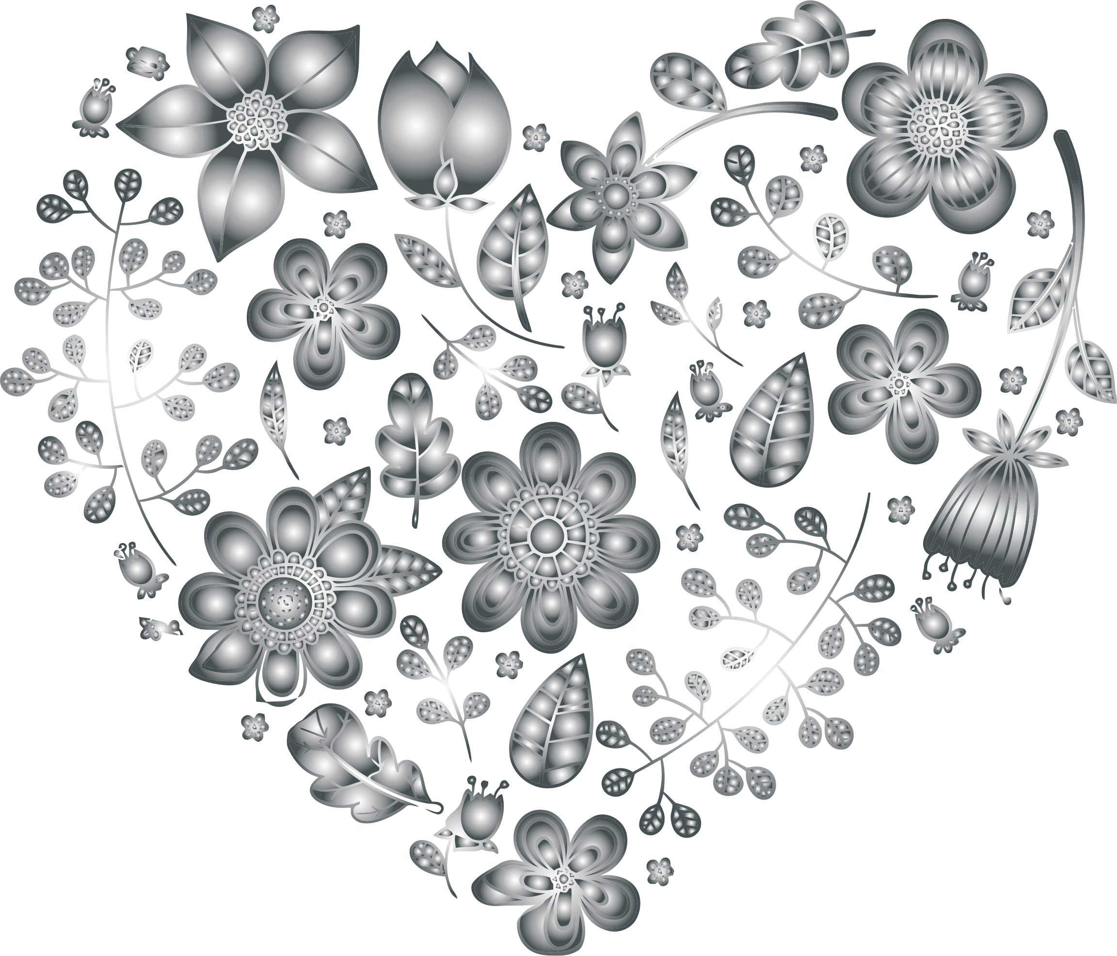 Grayscale Floral Heart 3 No Background by GDJ
