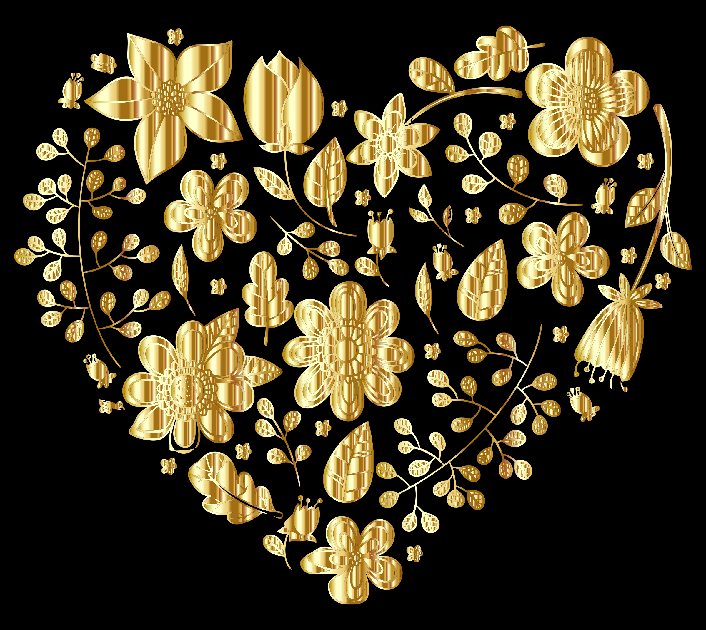 Gold Floral Heart by GDJ