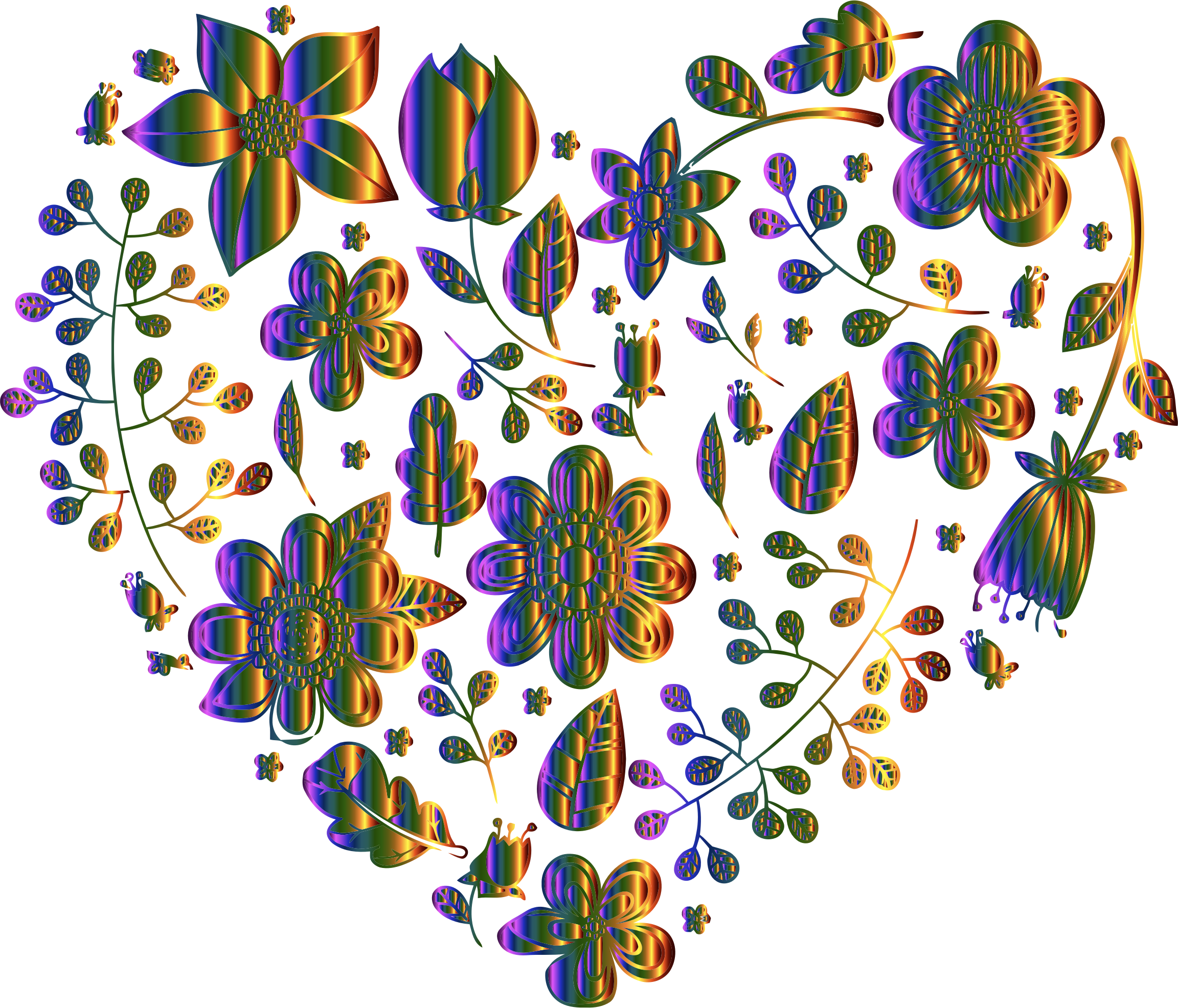 Chromatic Floral Heart No Background by GDJ