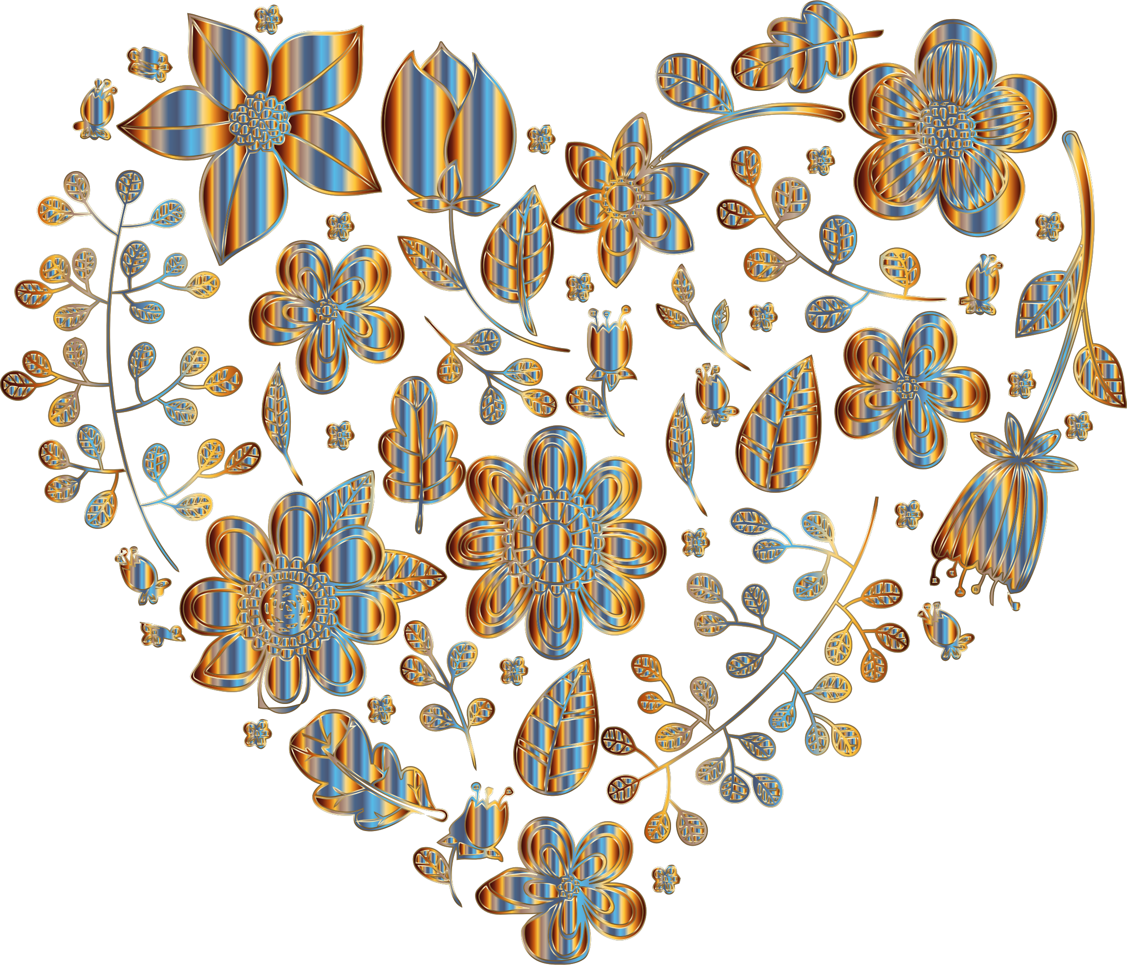 Chromatic Floral Heart 2 No Background by GDJ