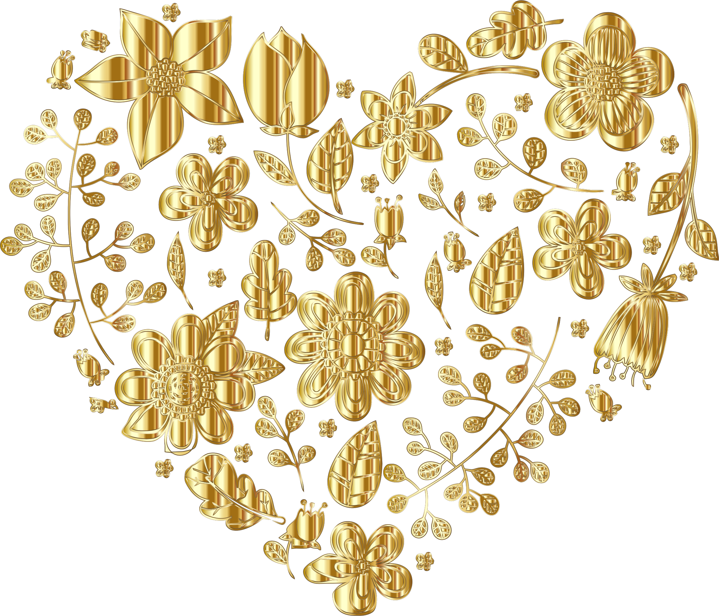 Gold Floral Heart Variation 2 No Background by GDJ