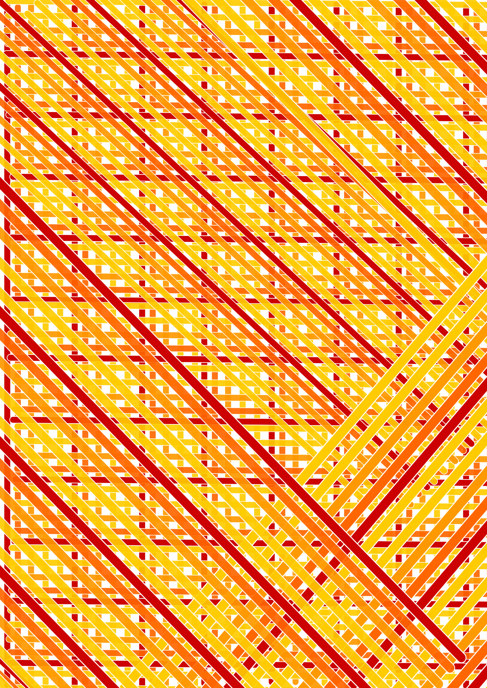 red orange lines across double diagonal by iglooo101