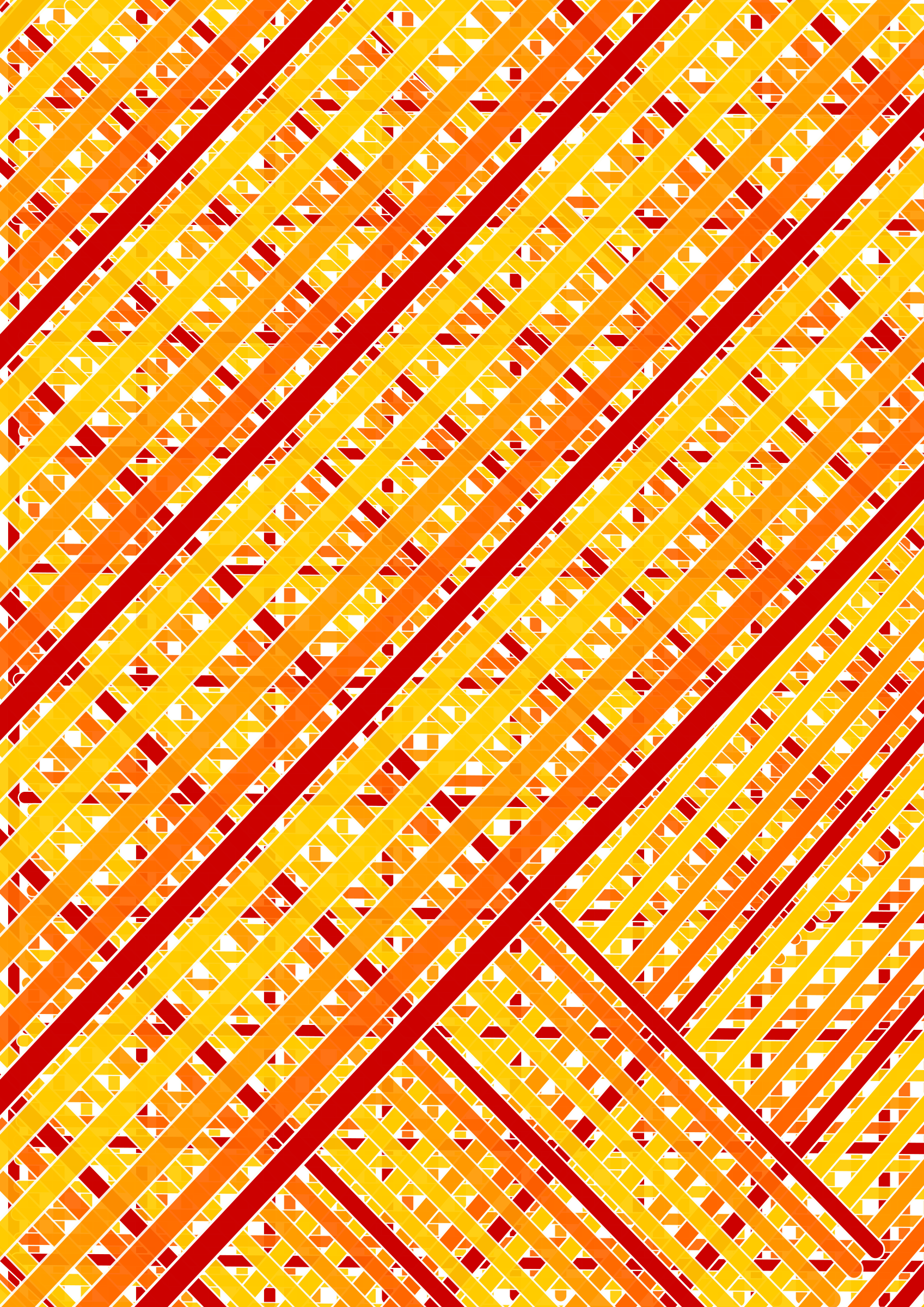 red orange lines complete across double diagonal by iglooo101