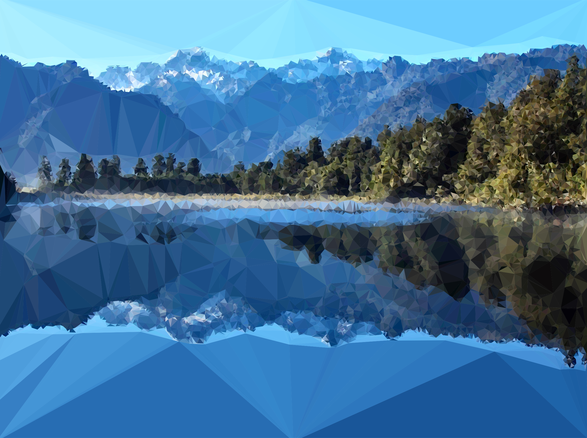 Low Poly Mirror Lake New Zealand by GDJ