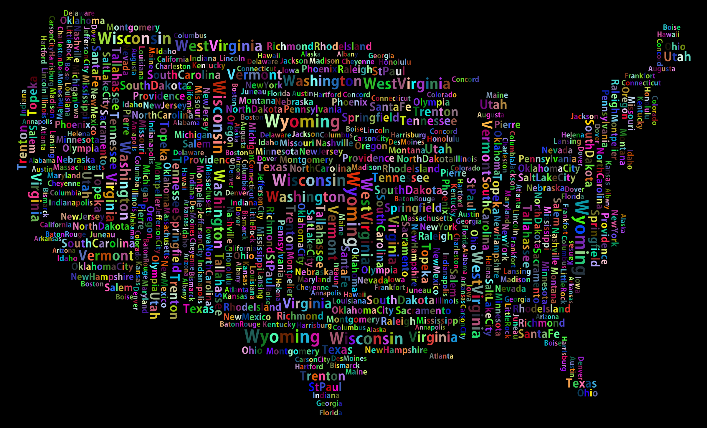 Prismatic America States And Capitals Word Cloud by GDJ