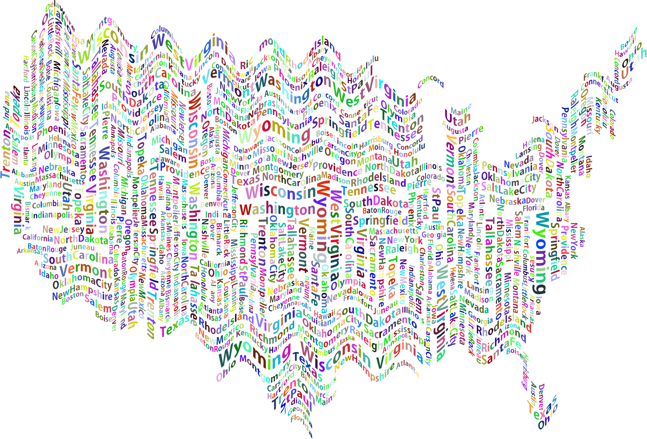 Prismatic Ripples America States And Capitals Word Cloud No Background by GDJ