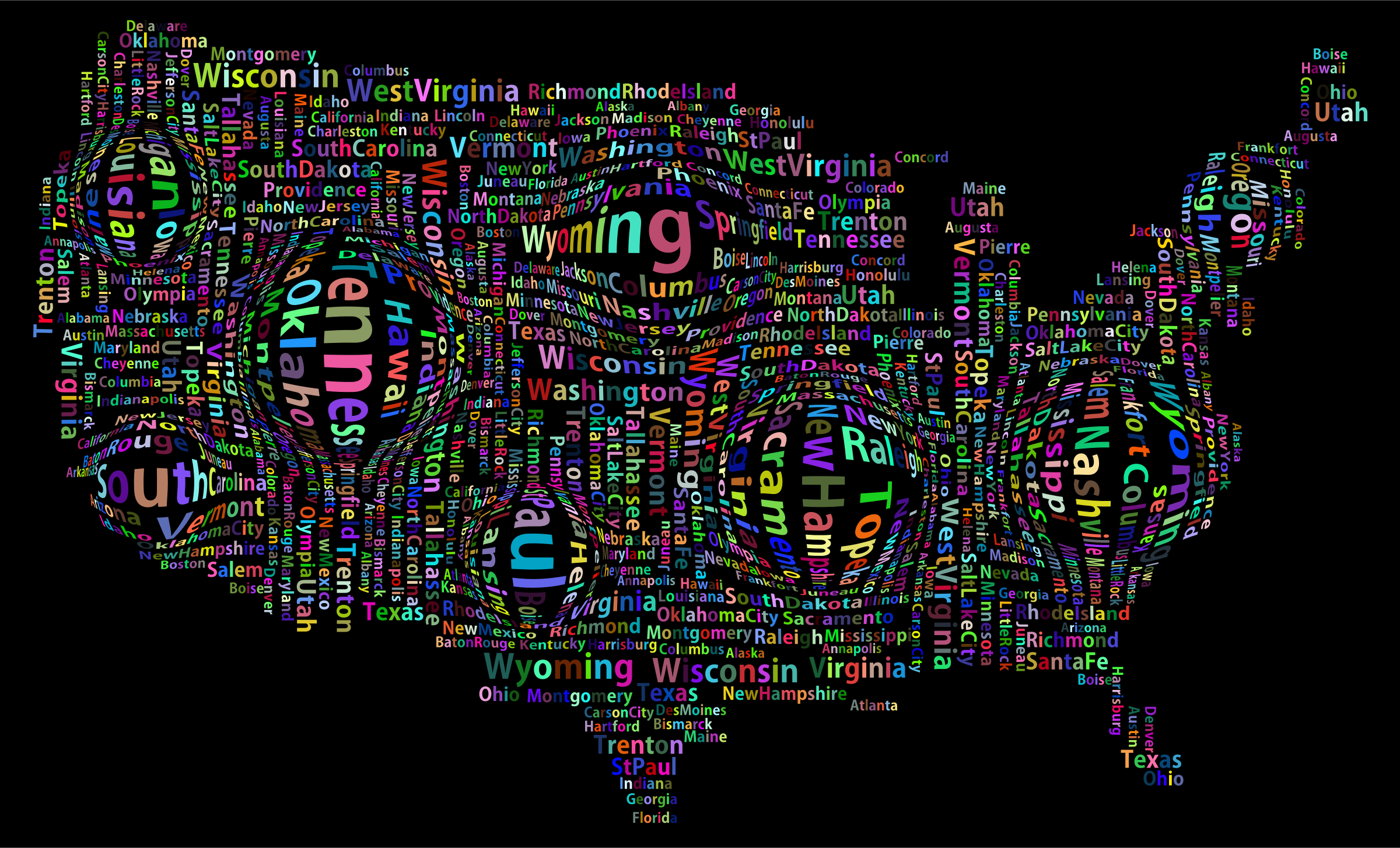 Prismatic Distorted America States And Capitals Word Cloud by GDJ