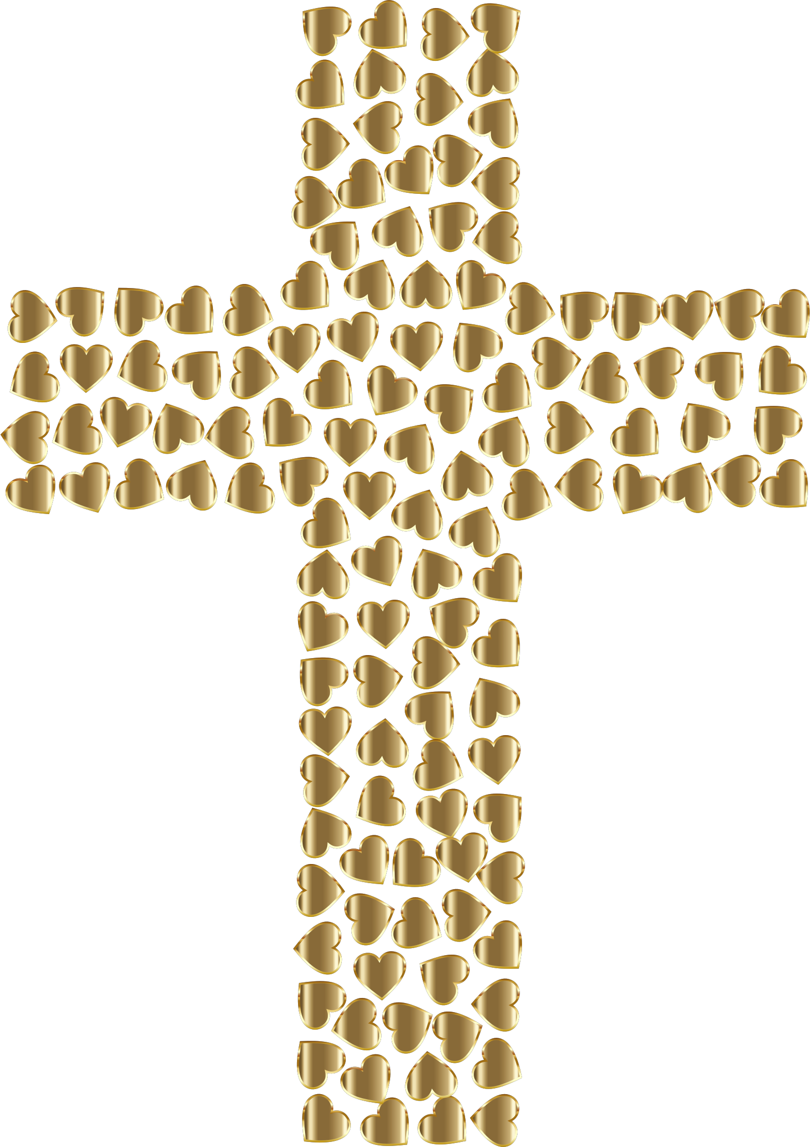 Golden Hearts Cross No Background by GDJ