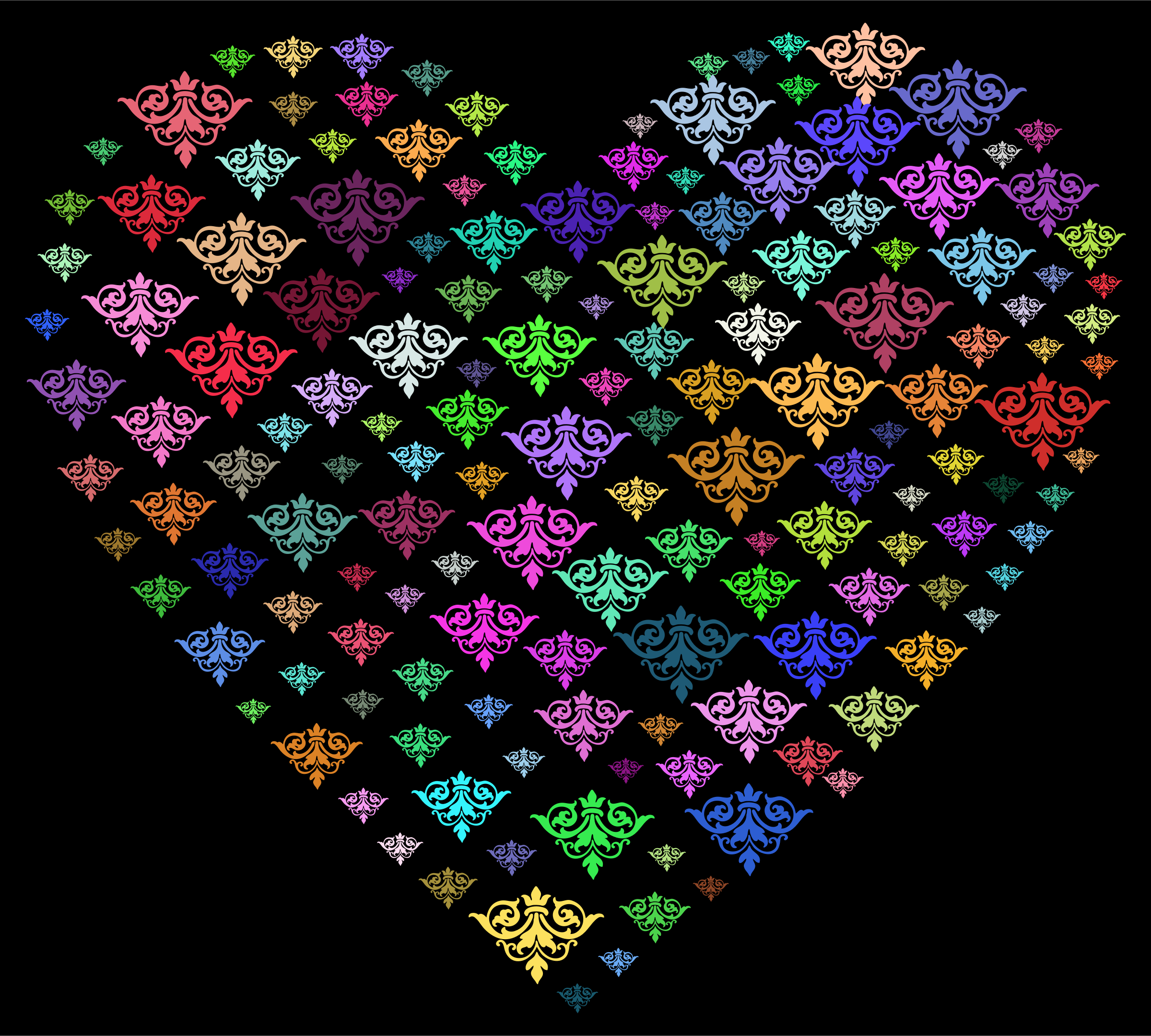 Prismatic Damask Heart by GDJ